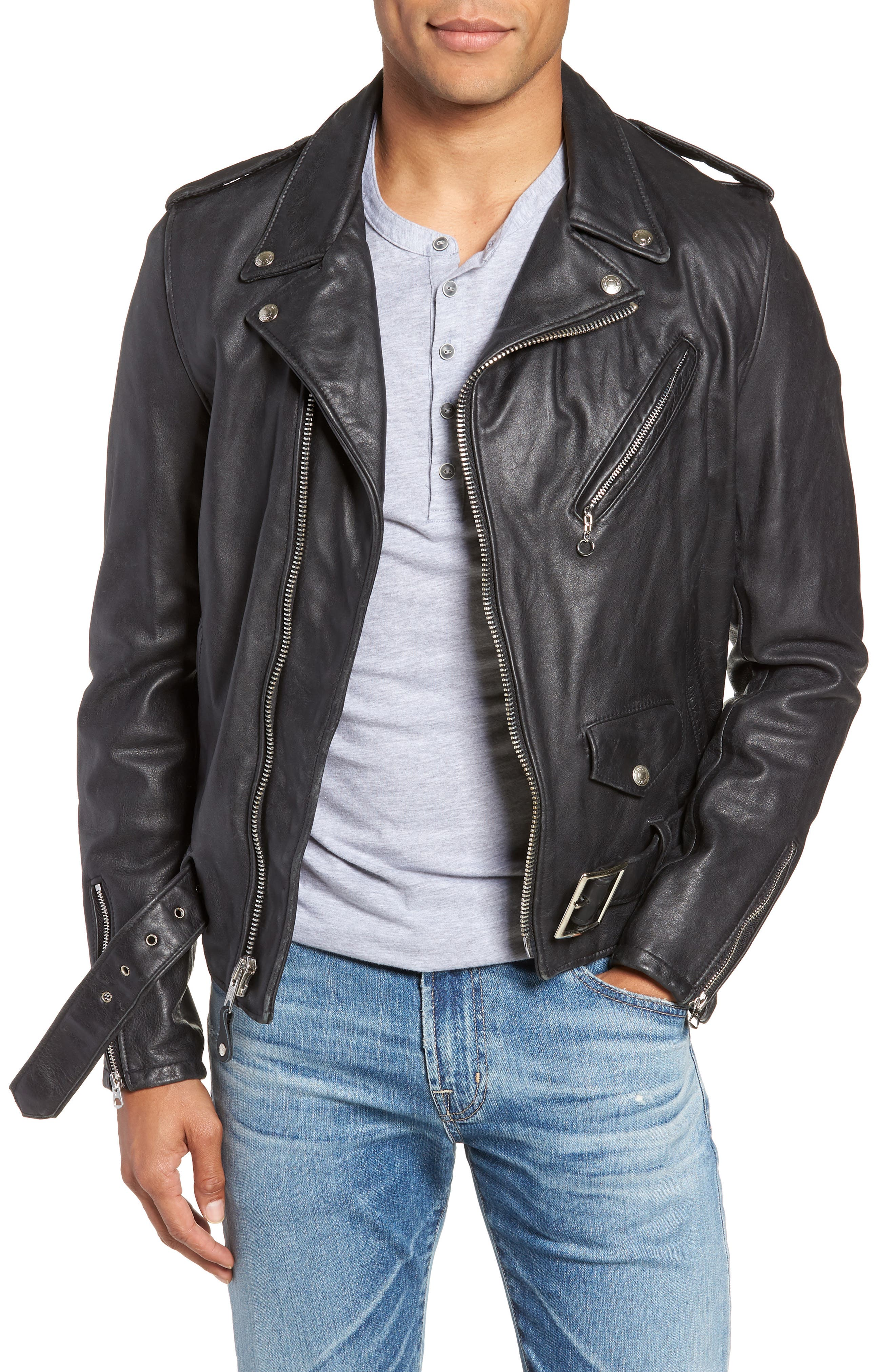 Hand Vintaged Cowhide Leather Motocycle Jacket,                             Main thumbnail 1, color,                             BLACK