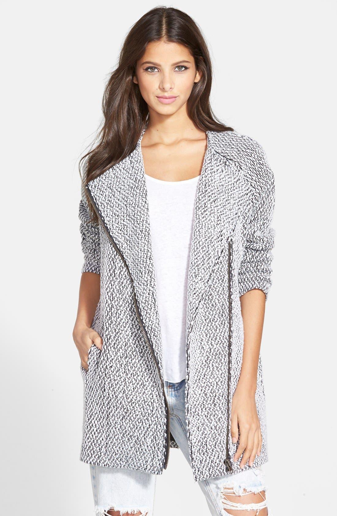 ASTR THE LABEL ASTR Asymmetrical Zip Long Coat, Main, color, 960