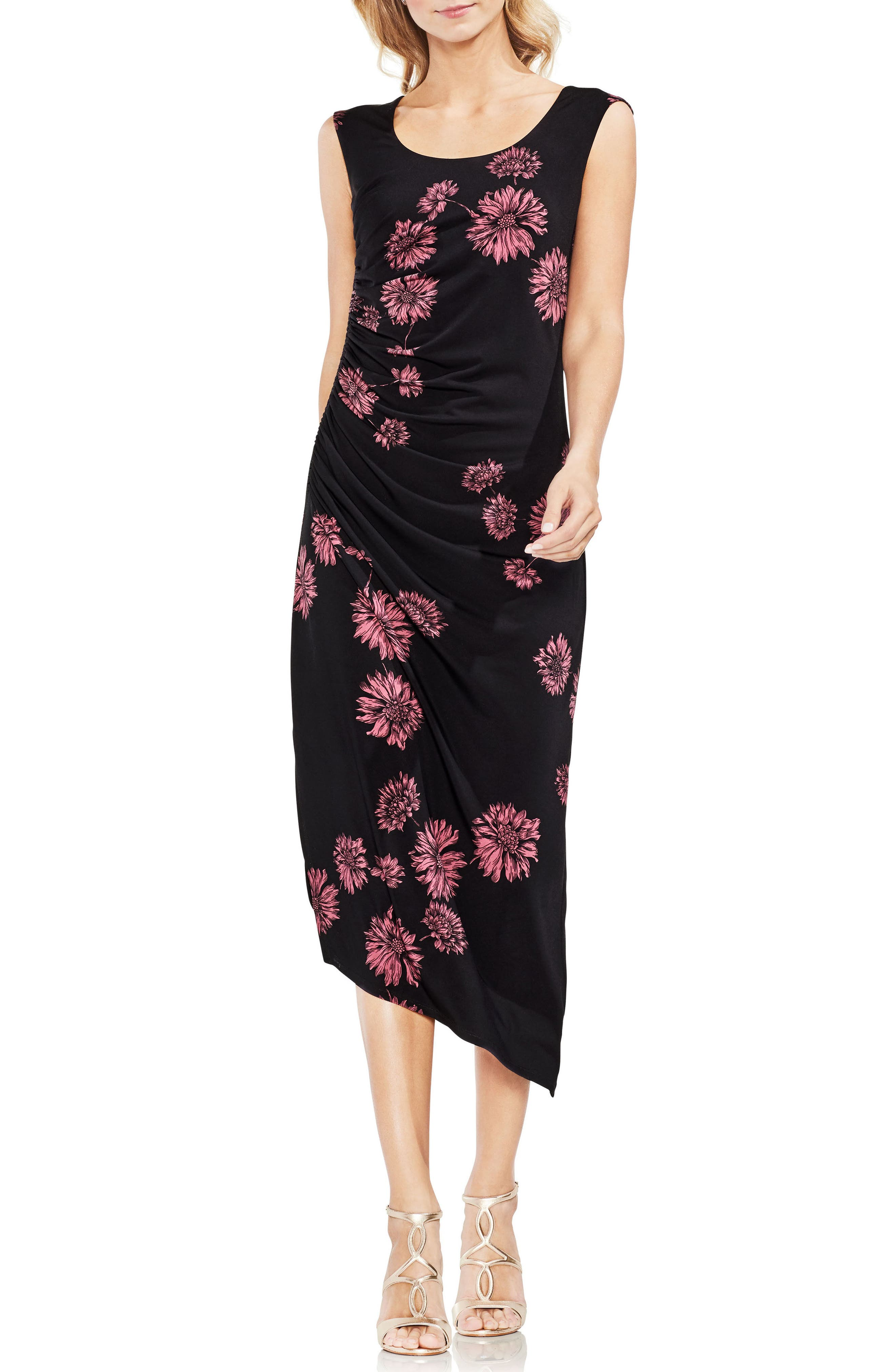 VINCE CAMUTO Chateau Floral Side Ruched Body-Con Dress, Main, color, 001