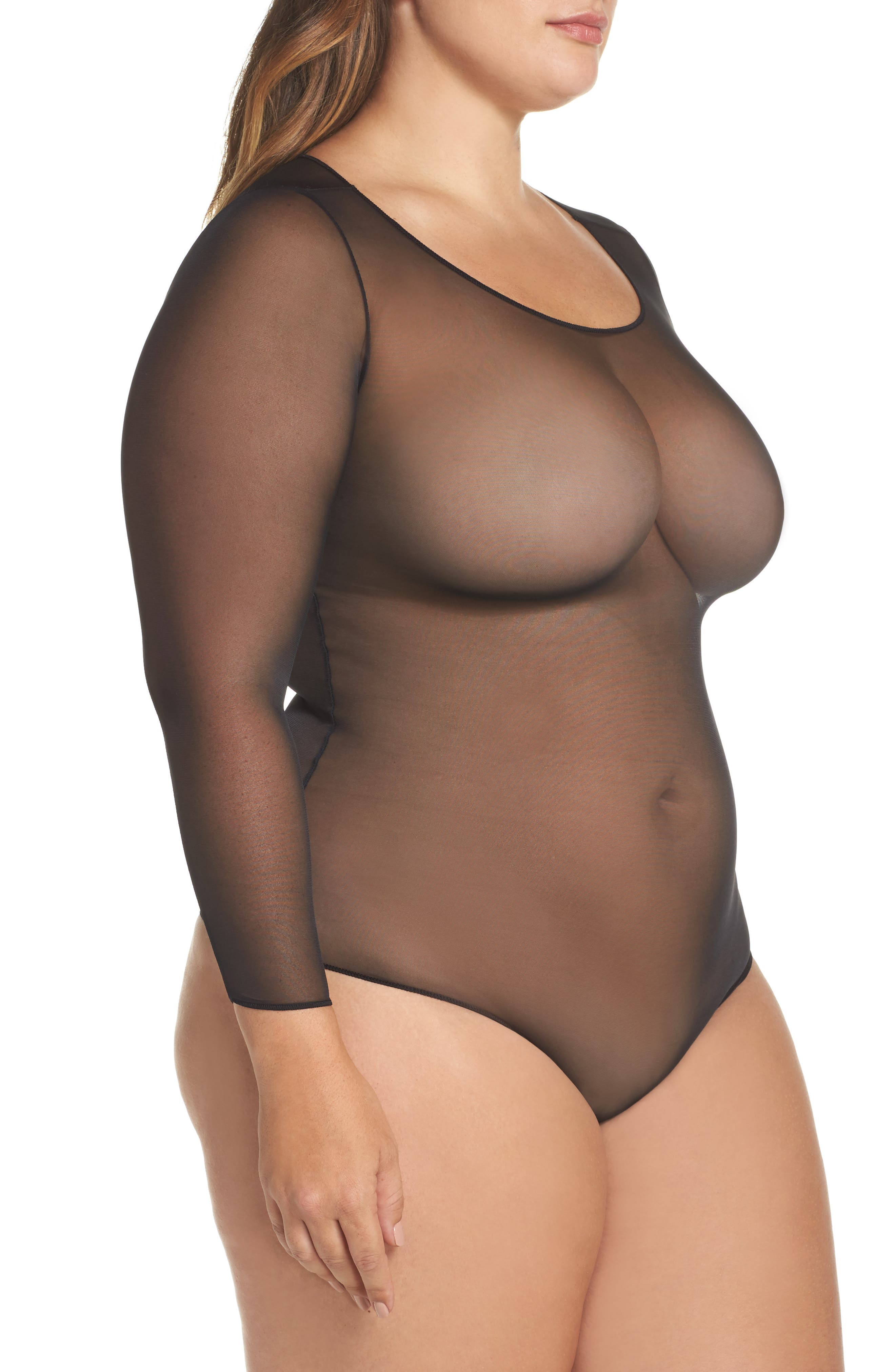 Thong Bodysuit,                             Alternate thumbnail 3, color,                             VERY BLACK