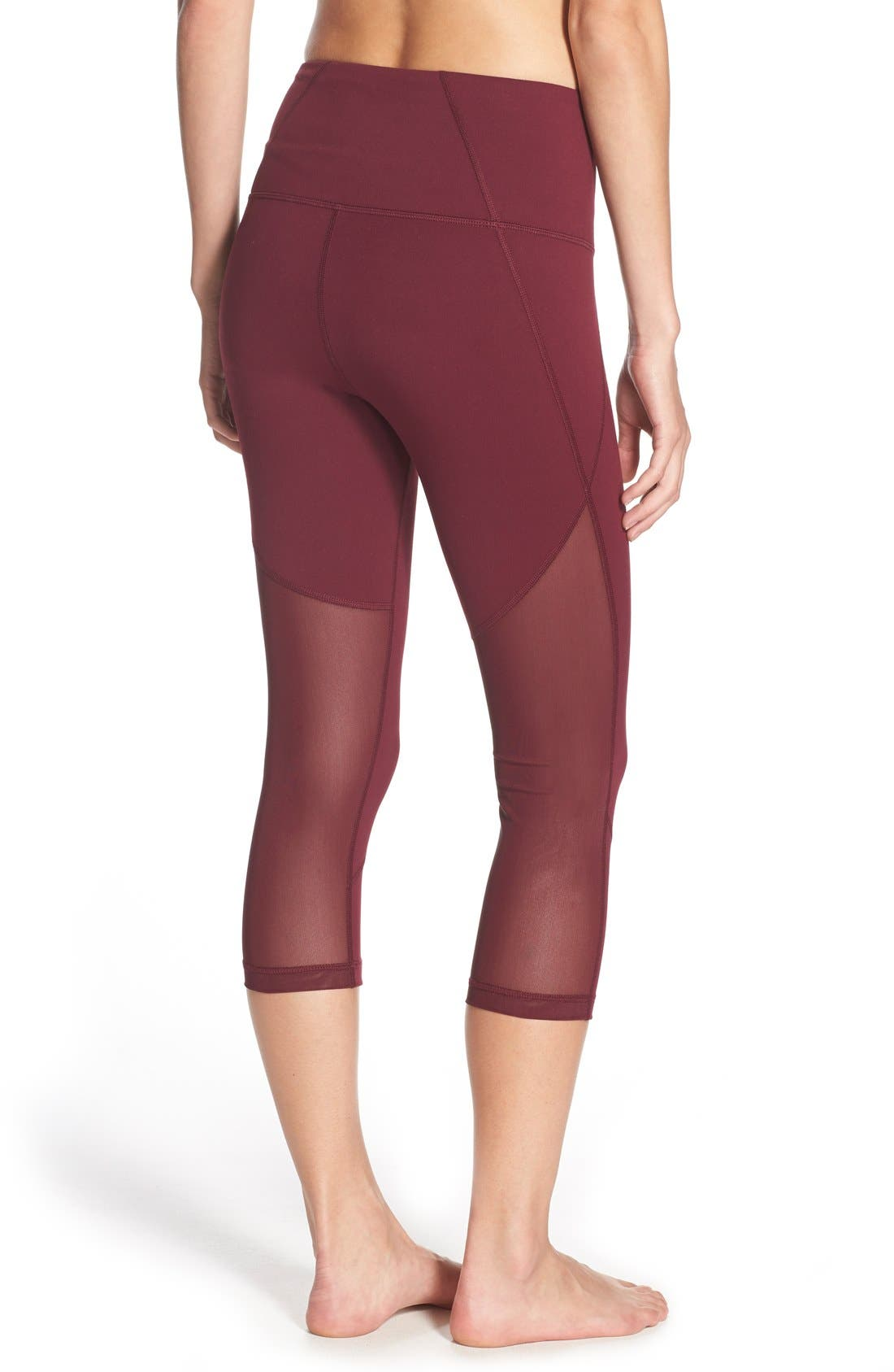 'Live In - Sultry' High Waist Mesh Crop Leggings,                             Main thumbnail 12, color,