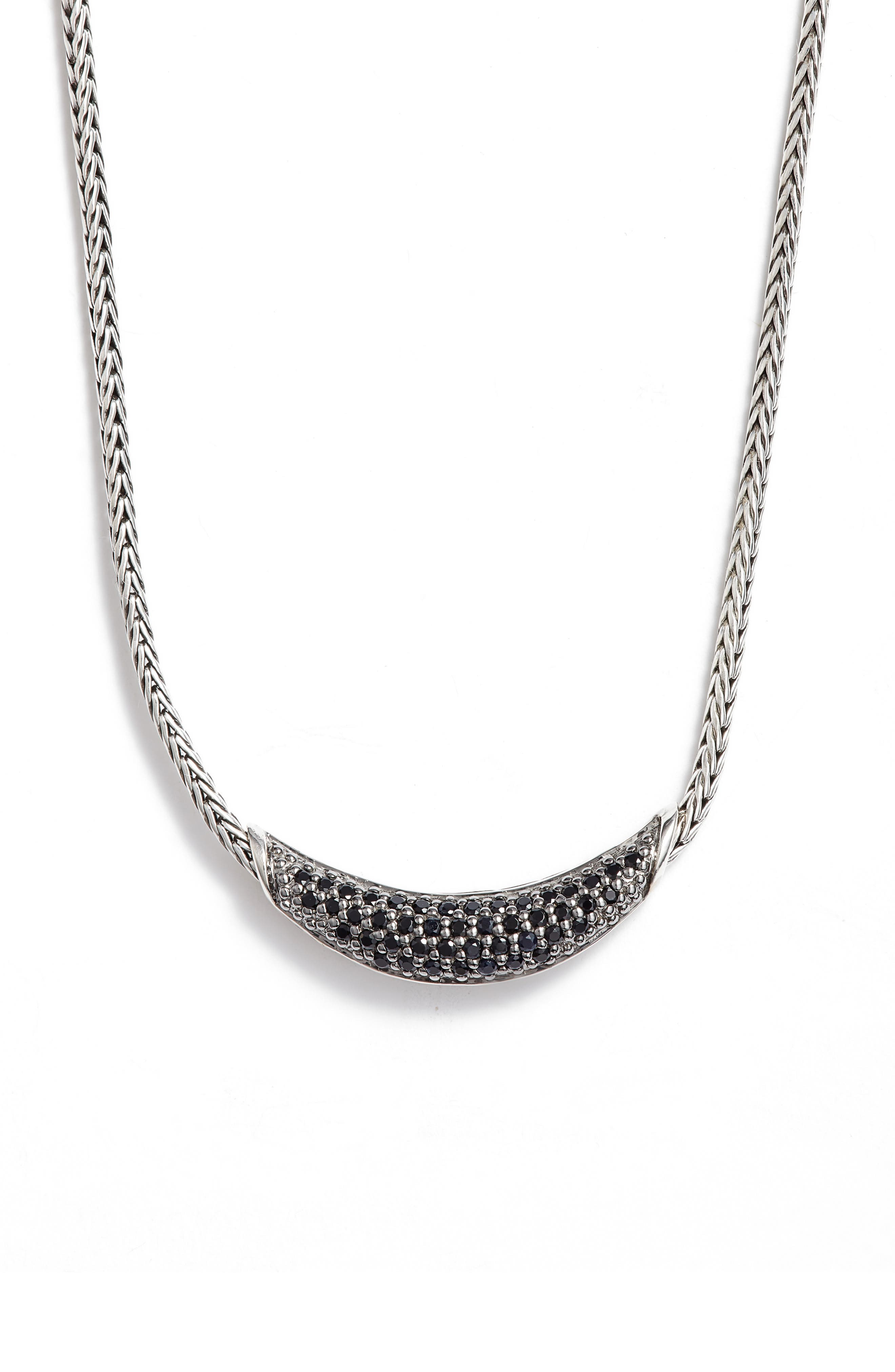 Classic Chain Gemstone Necklace,                             Main thumbnail 1, color,                             SILVER/ BLACK SAPPHIRE