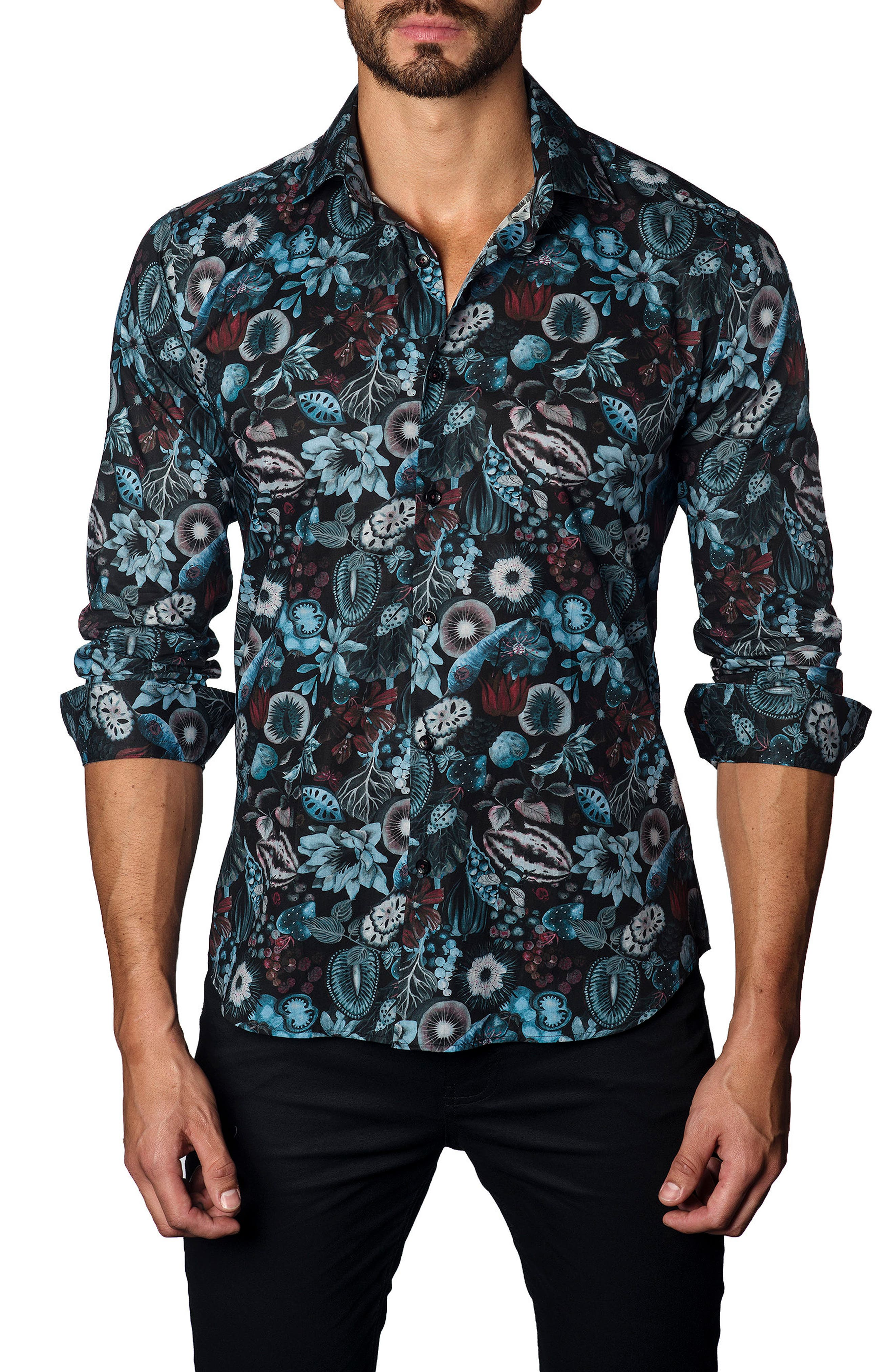 Trim Fit Black Garden Print Sport Shirt,                         Main,                         color, 001
