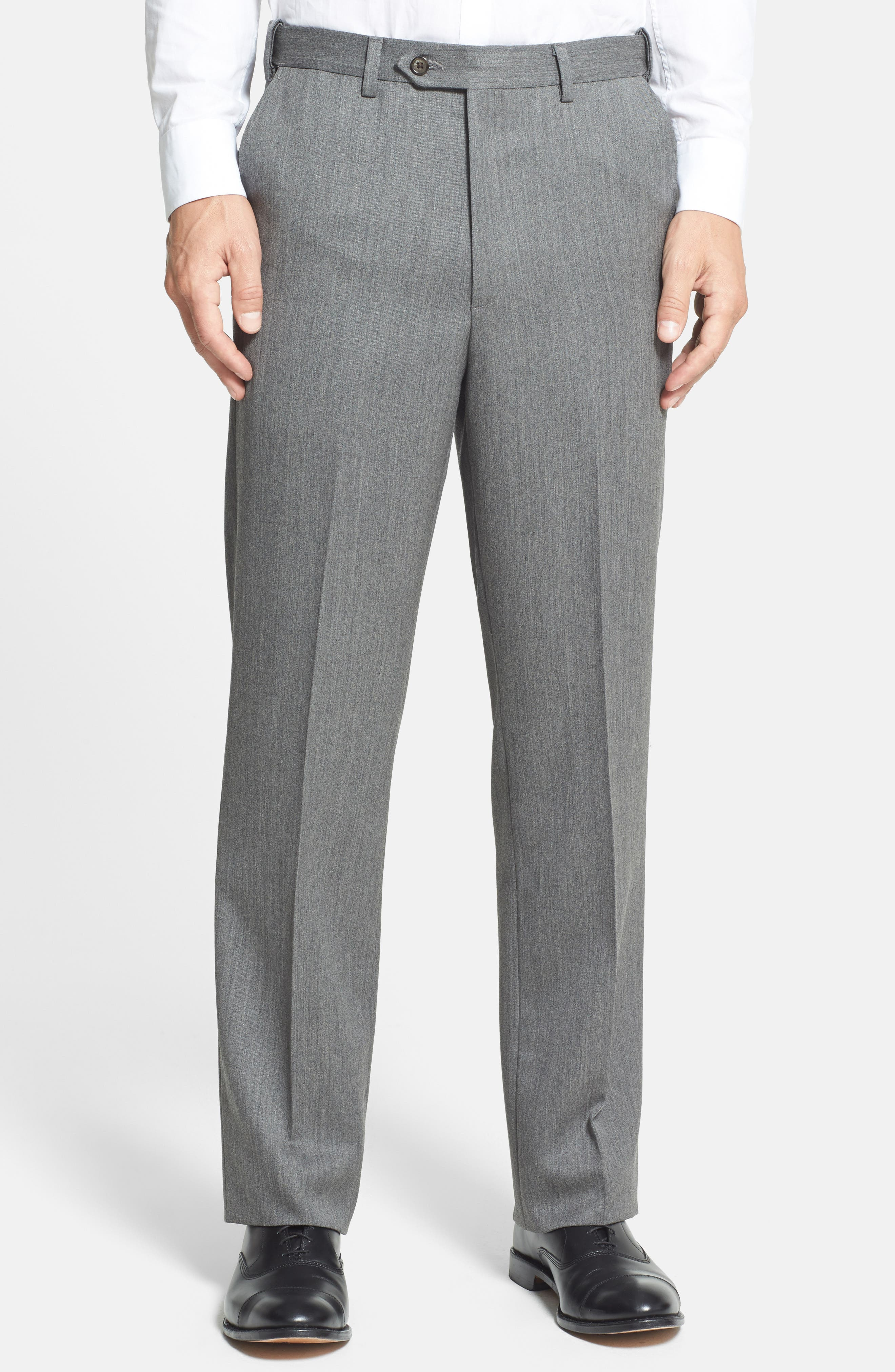 Self Sizer Waist Flat Front Wool Gabardine Trousers,                             Alternate thumbnail 3, color,                             MEDIUM GREY