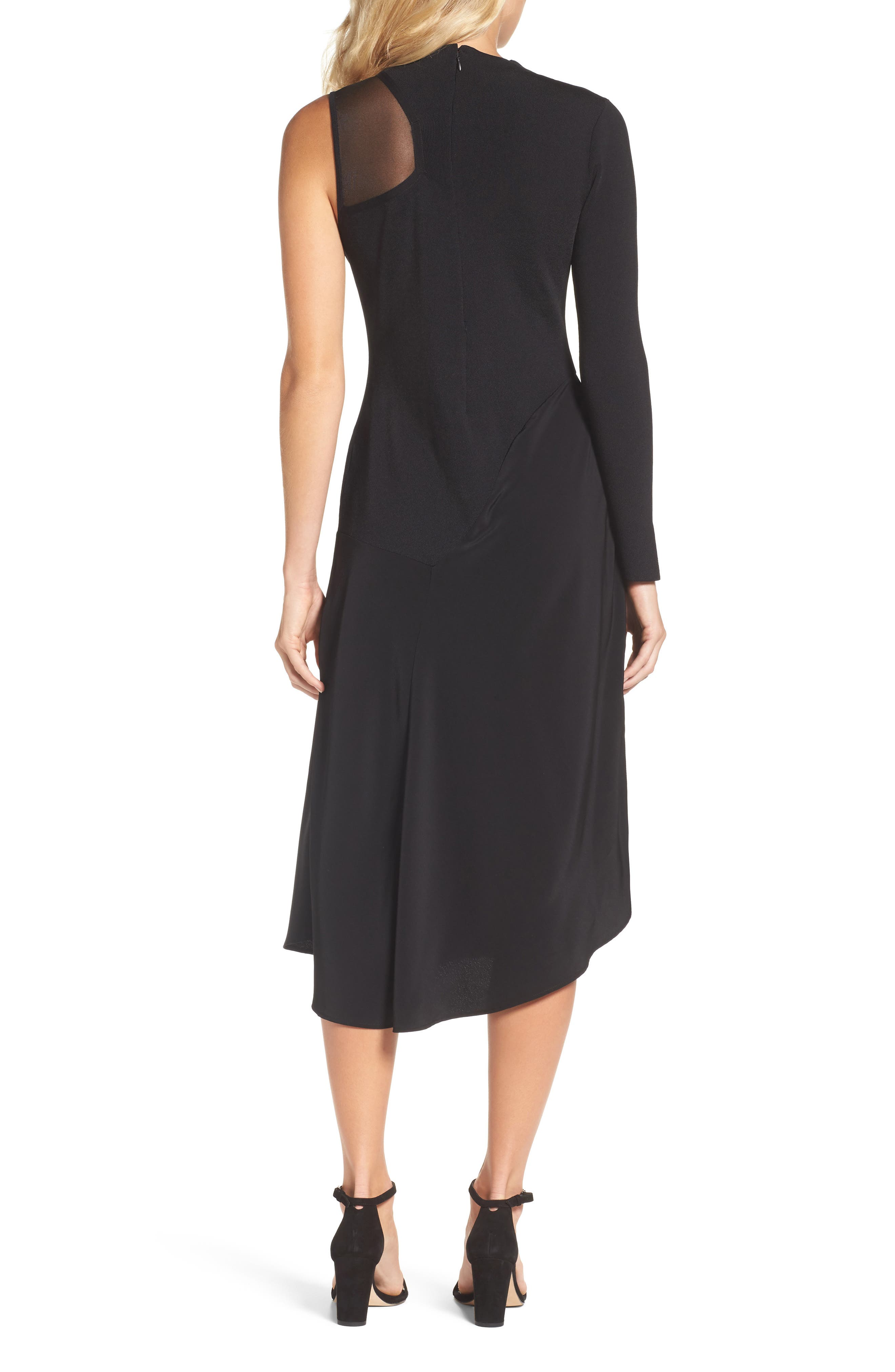 One-Shoulder Midi Dress,                             Alternate thumbnail 2, color,                             004