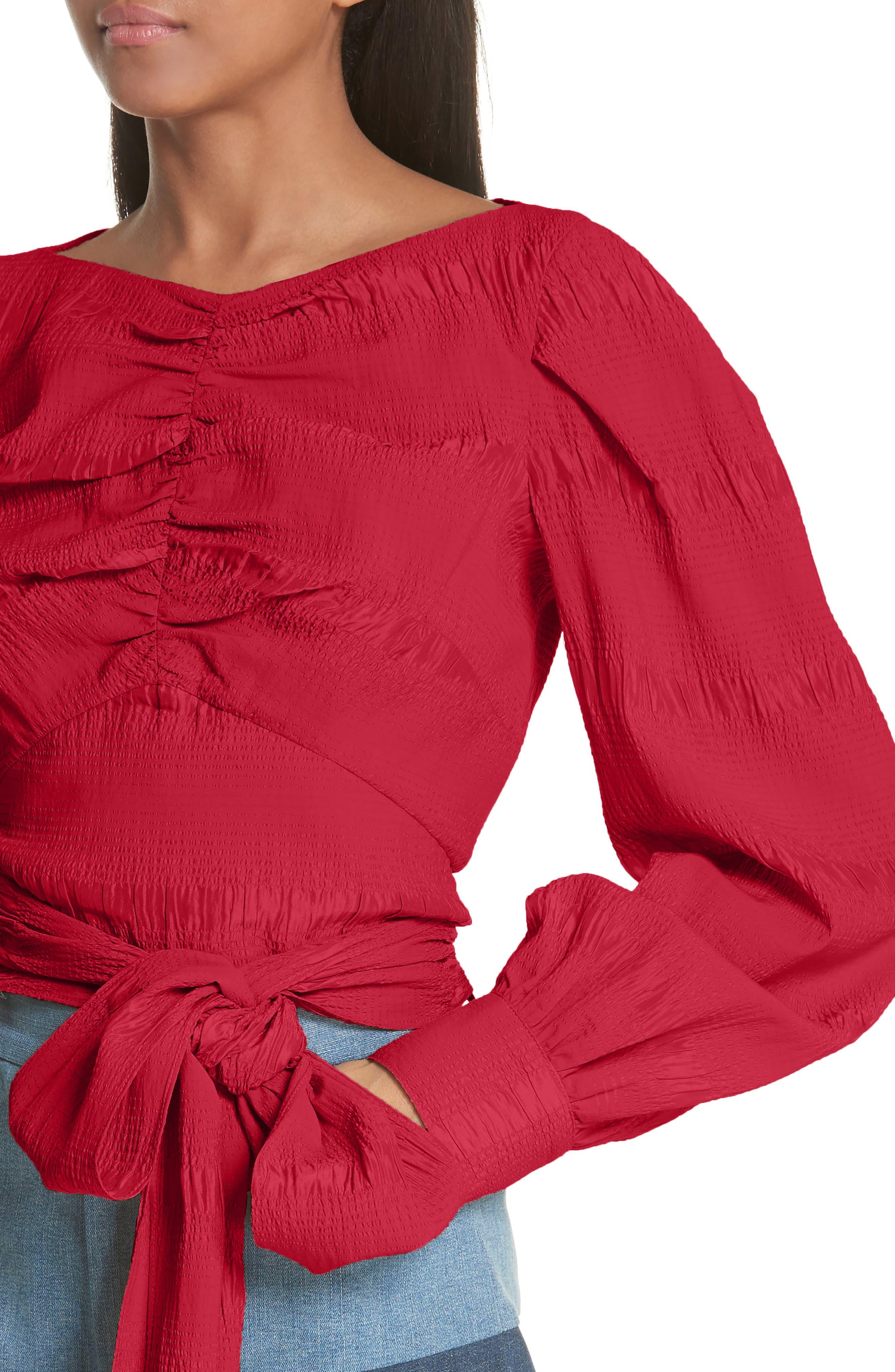 RACHEL COMEY,                             Bounds Tie Waist Silk Blend Top,                             Alternate thumbnail 4, color,                             600