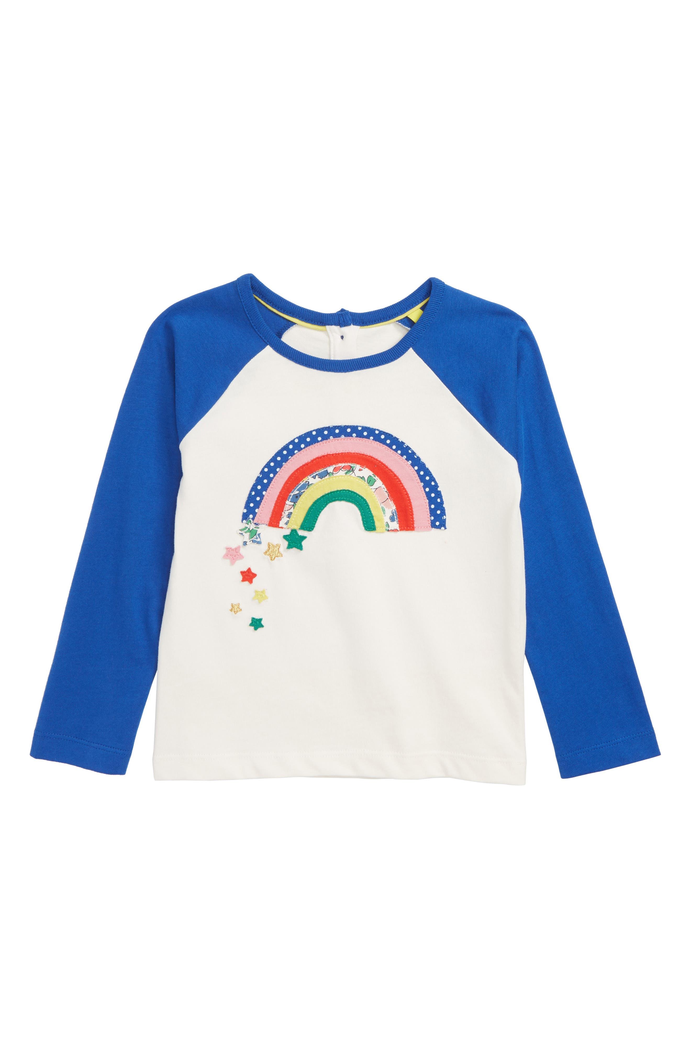 MINI BODEN Rainbow Appliqué Raglan Shirt, Main, color, 900