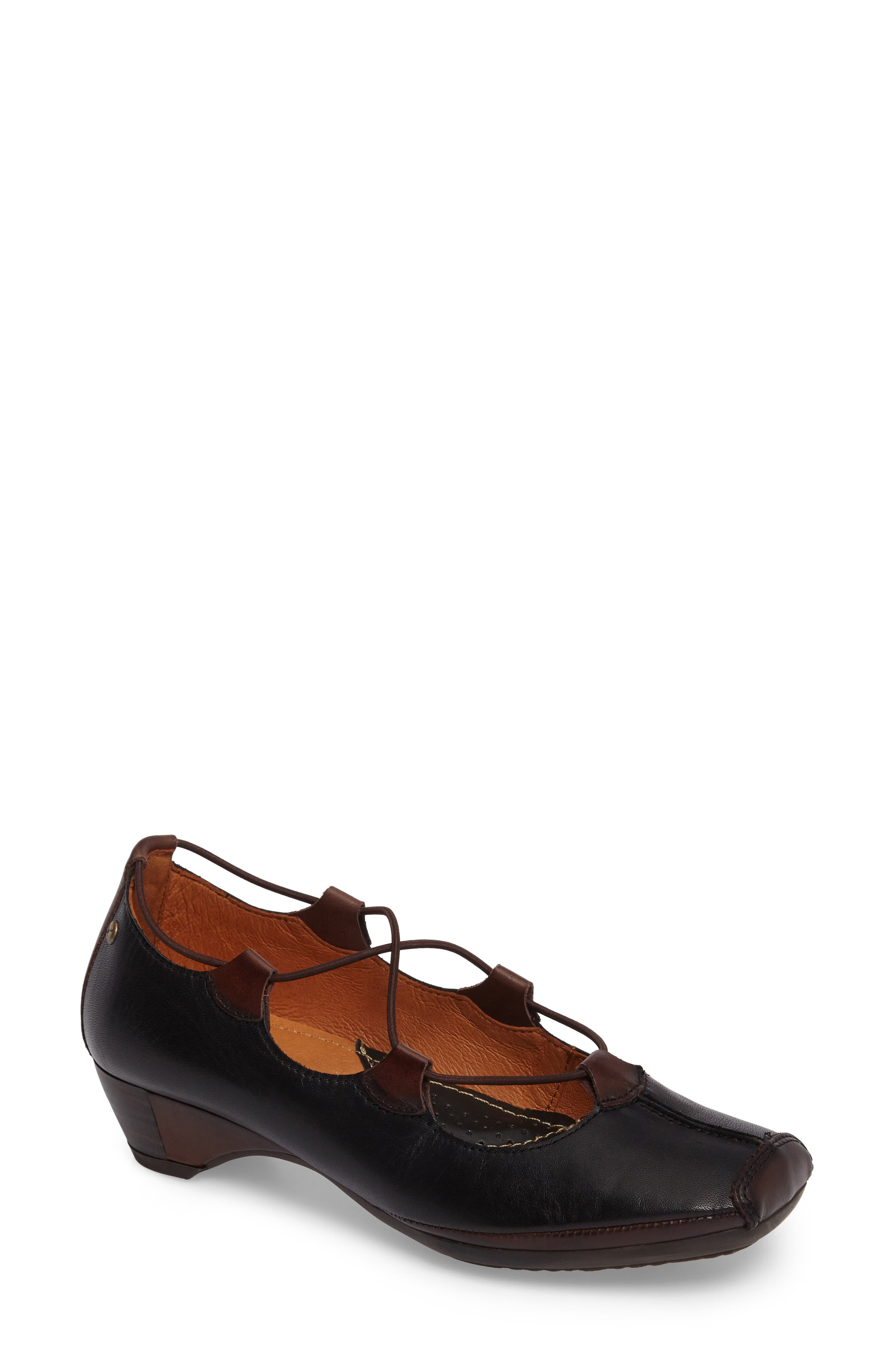 Gandia Lace-Up Pump,                             Main thumbnail 1, color,                             BLACK OLMO LEATHER