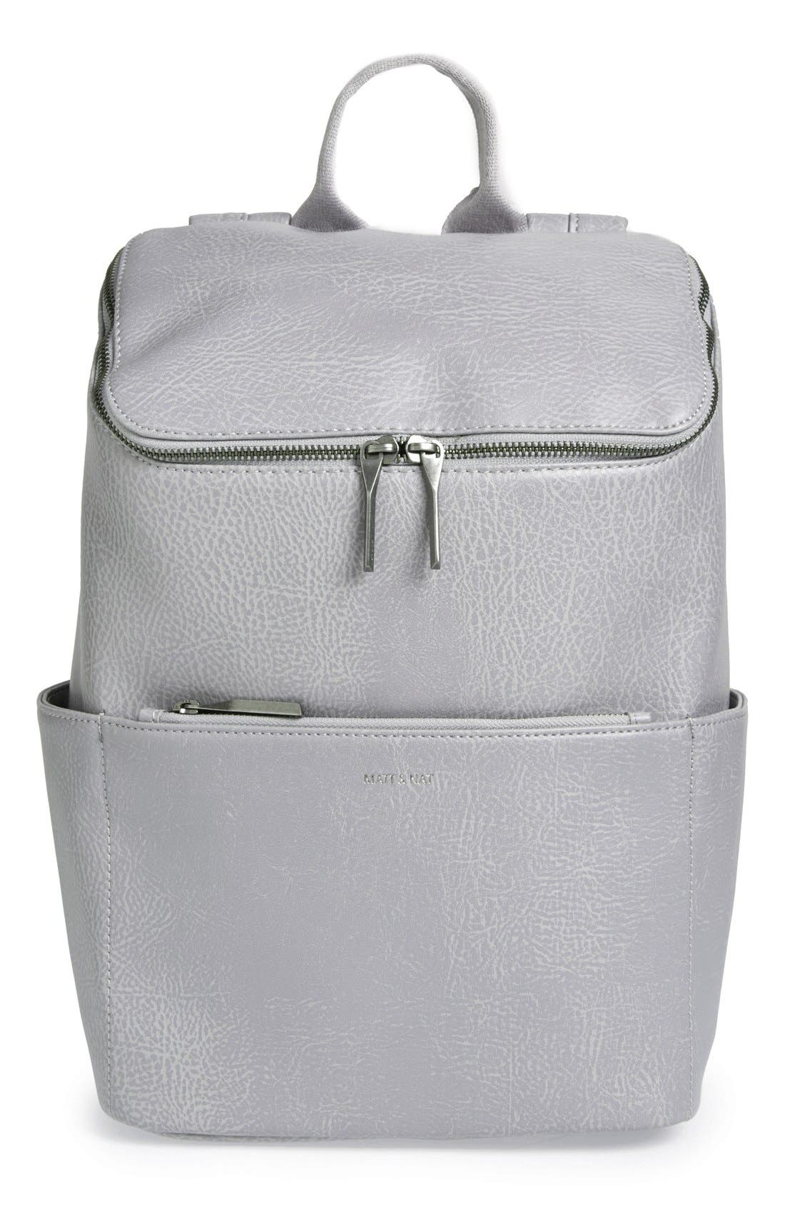 'Brave' Faux Leather Backpack,                             Main thumbnail 7, color,