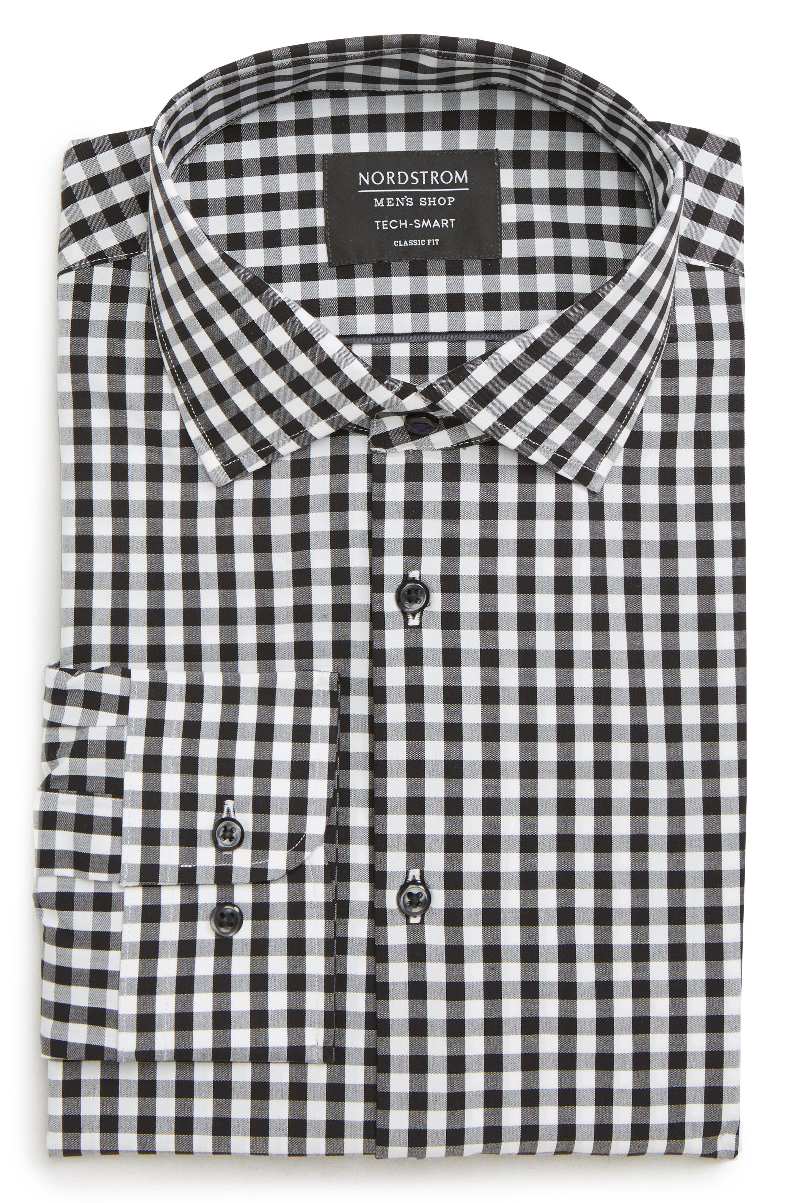 Tech-Smart Classic Fit Stretch Check Dress Shirt,                         Main,                         color, BLACK ROCK