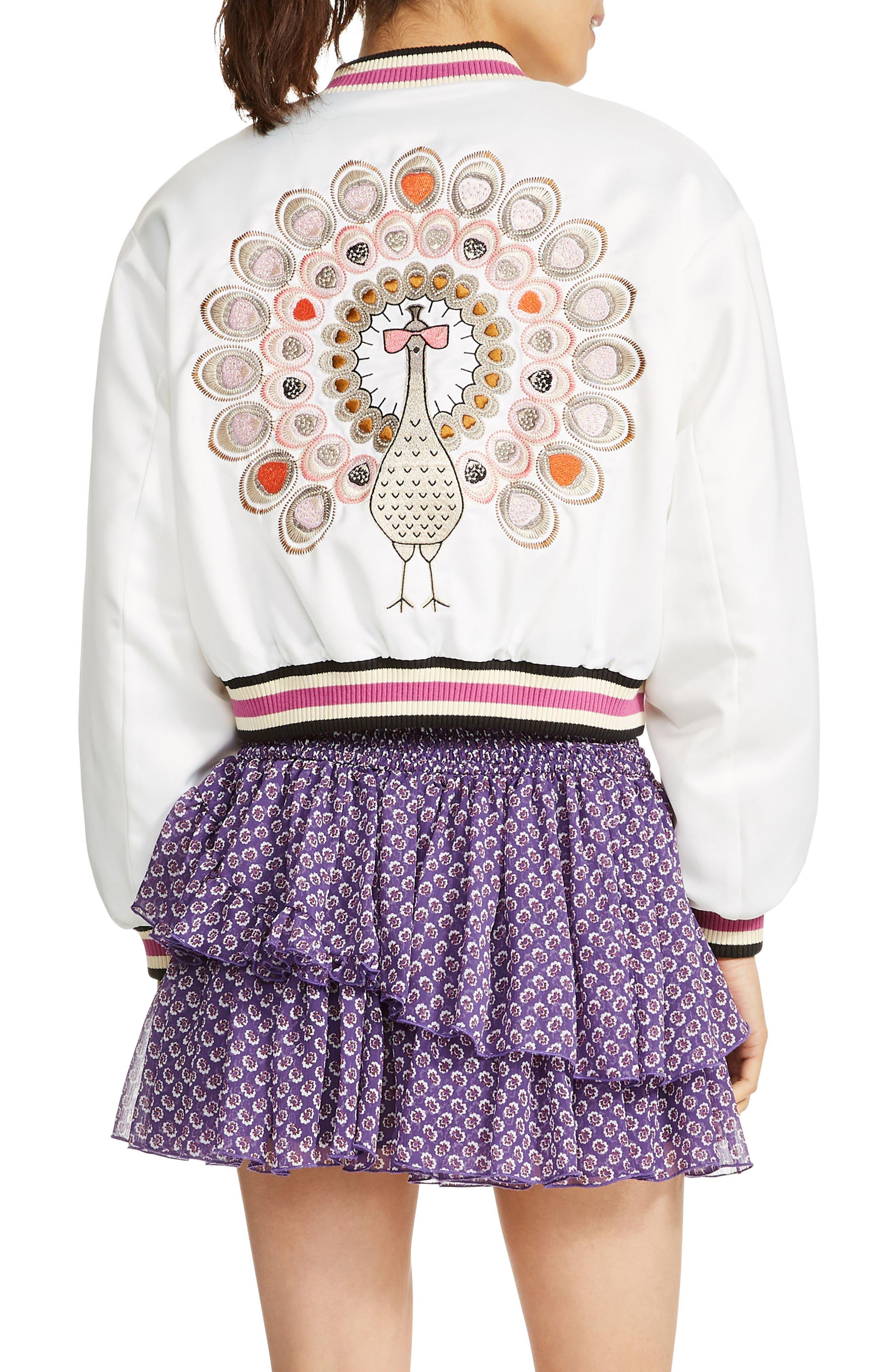 Bloomy Varsity Jacket,                             Alternate thumbnail 2, color,                             100