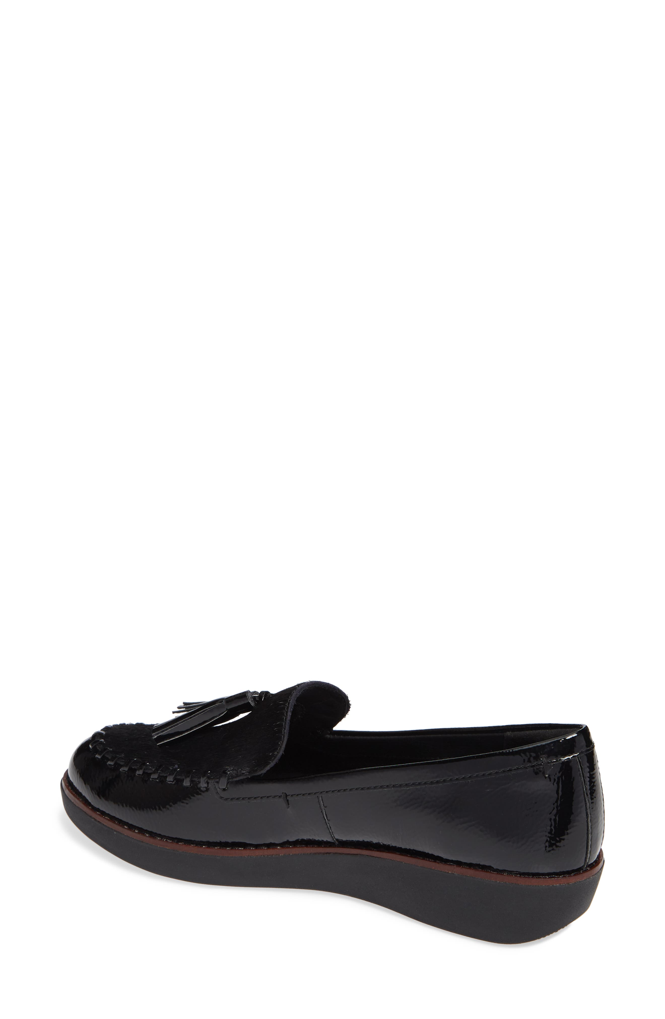 Petrina Genuine Calf Hair Loafer,                             Alternate thumbnail 2, color,                             BLACK FAUX LEATHER