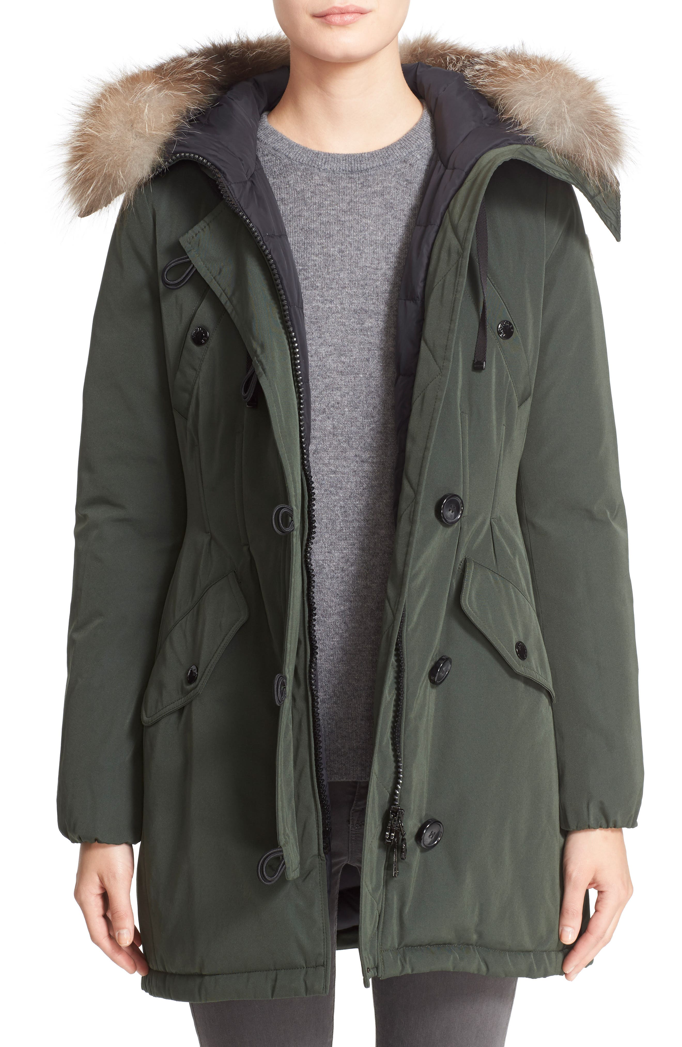 Aredhel Hooded Down Parka with Removable Genuine Fox Fur Trim, Main, color, 001