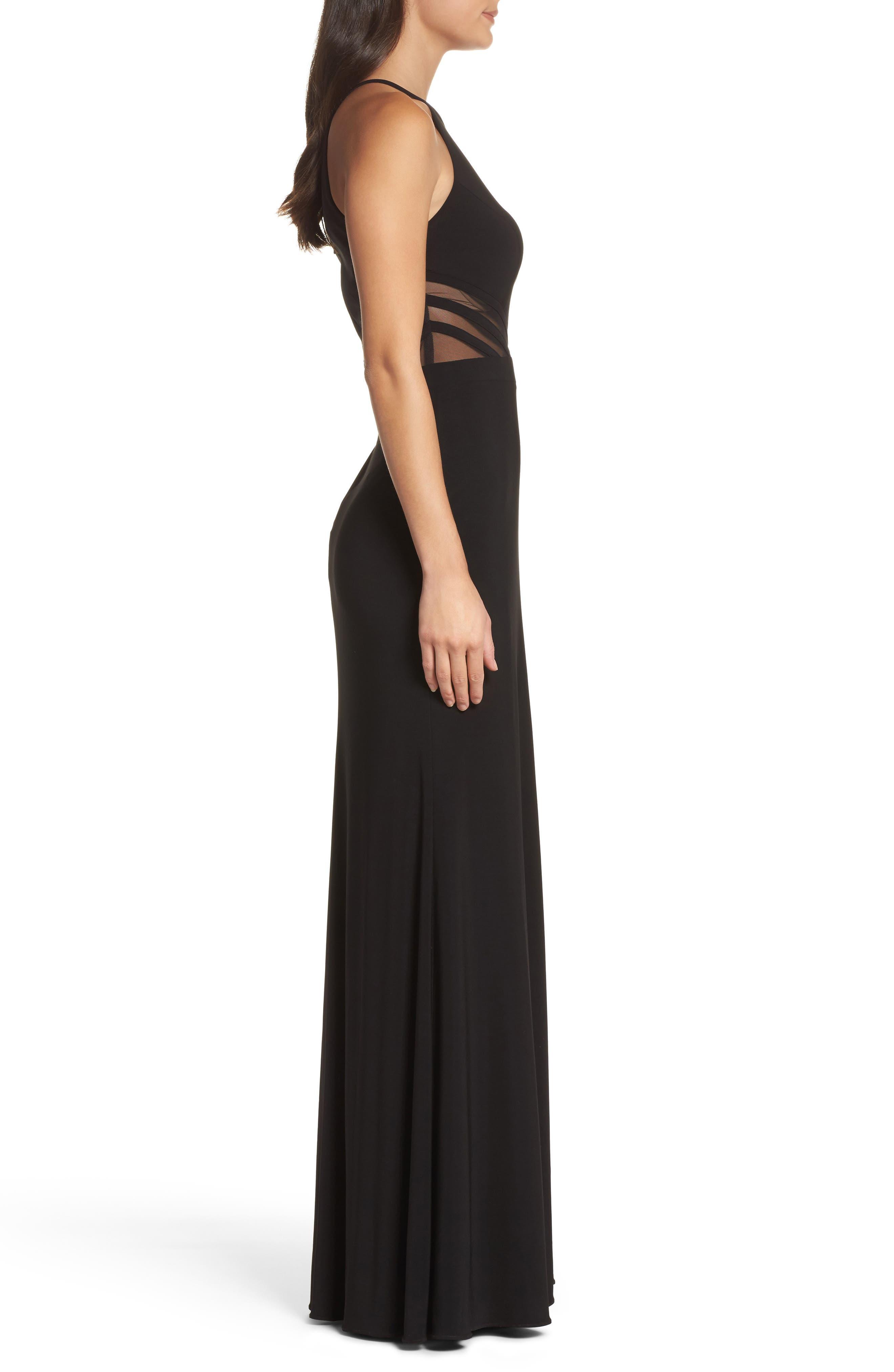 Illusion Waist Jersey Halter Dress,                             Alternate thumbnail 3, color,                             001