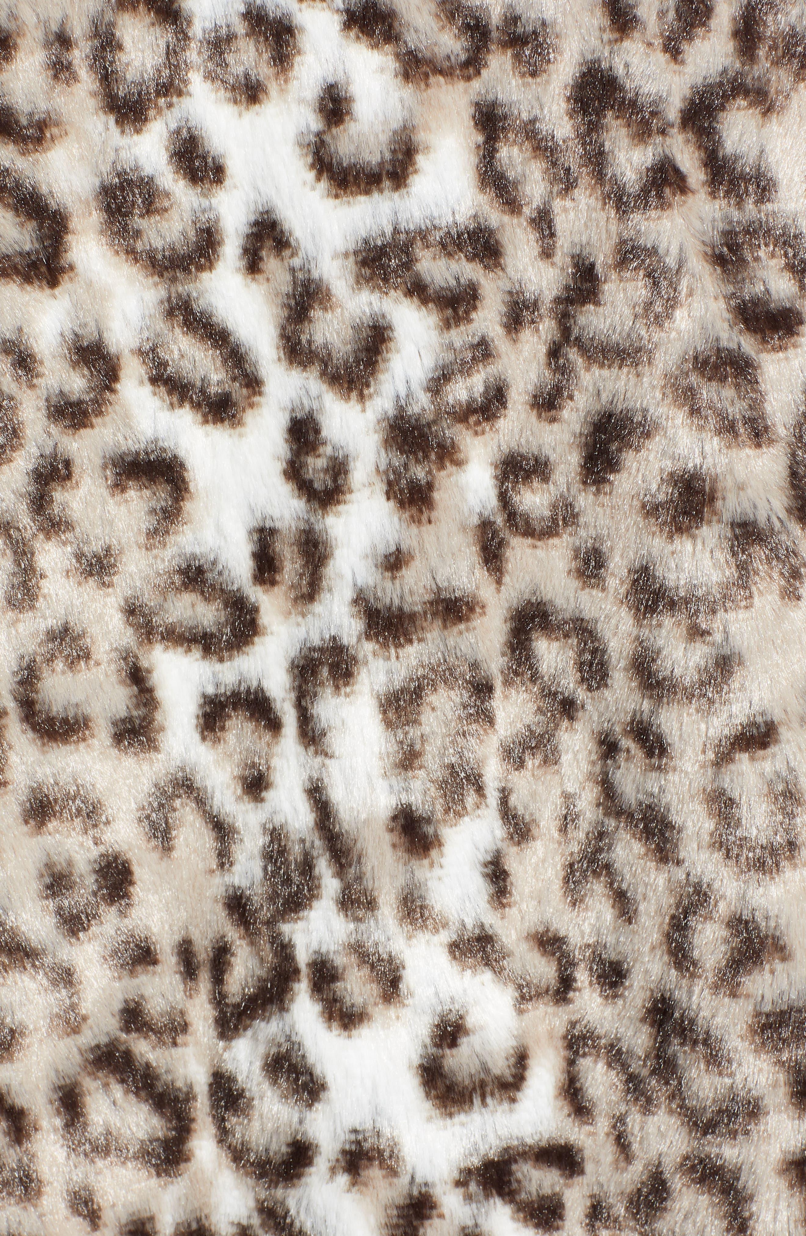 Draped Faux Leopard Fur Vest,                             Alternate thumbnail 7, color,                             LIGHT CASHMERE