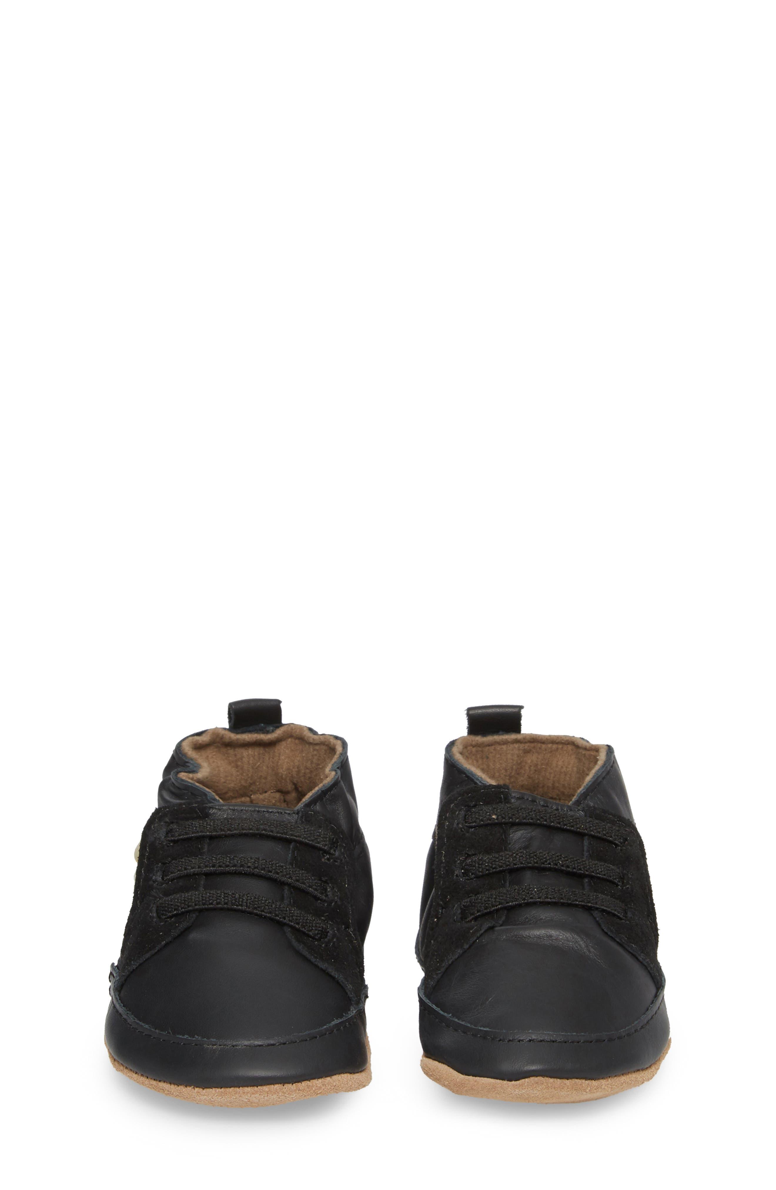 Super Sporty Sneaker Crib Shoe,                             Alternate thumbnail 4, color,                             BLACK