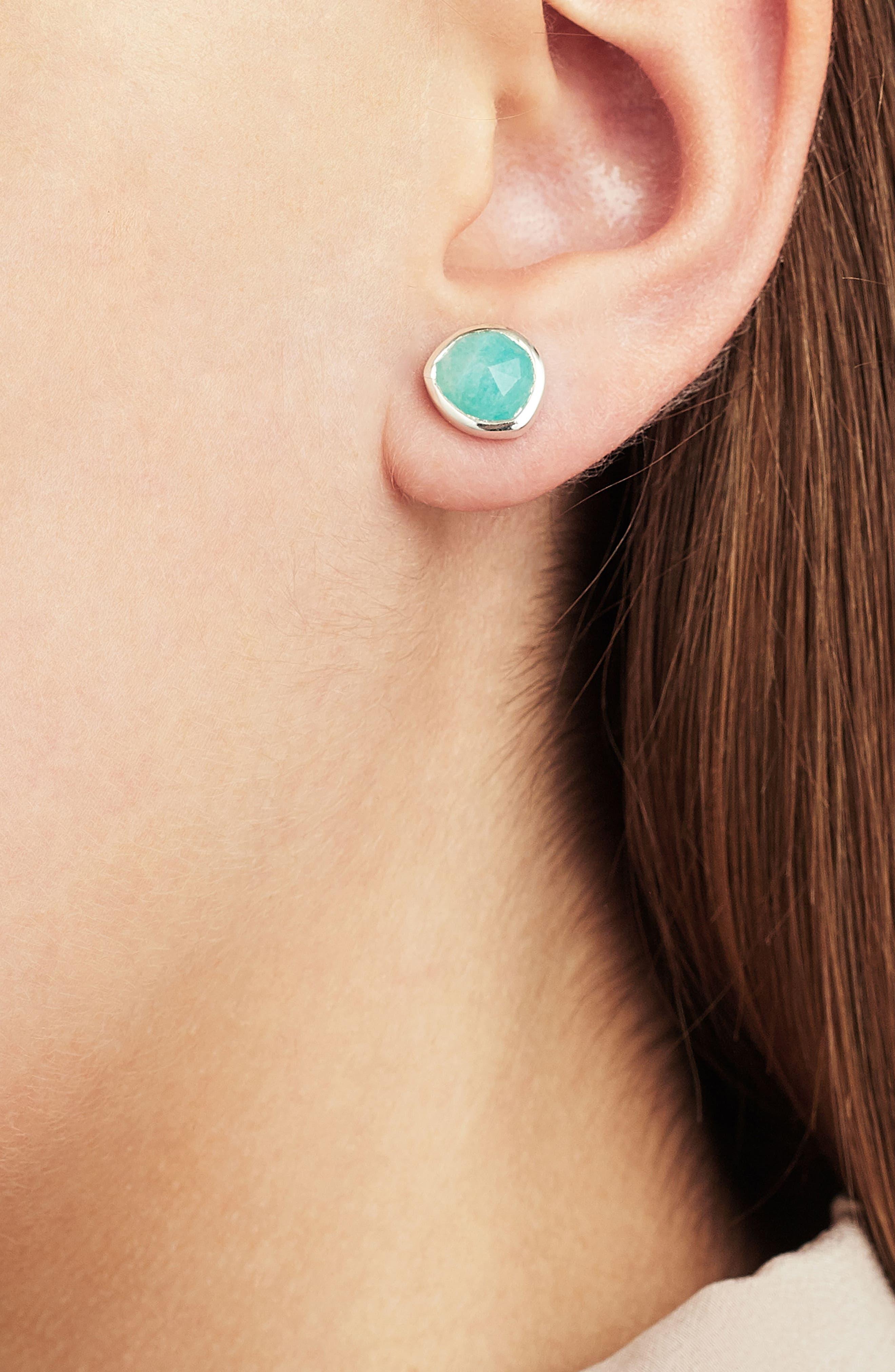 Siren Stud Earrings,                             Alternate thumbnail 2, color,                             SILVER/ AMAZONITE