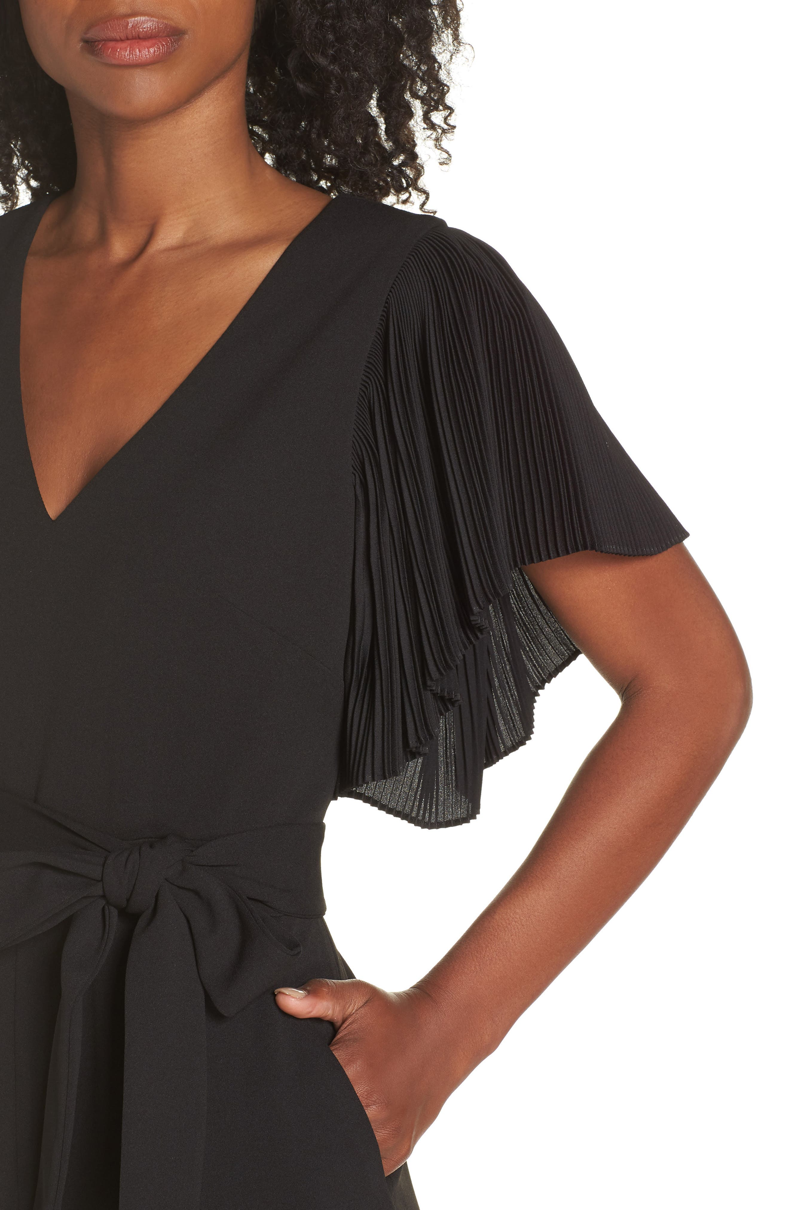 Pleat Sleeve Jumpsuit,                             Alternate thumbnail 4, color,                             BLACK