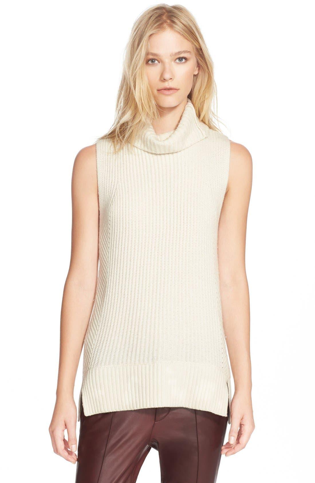 Sleeveless Ribbed Wool Turtleneck,                         Main,                         color, 101