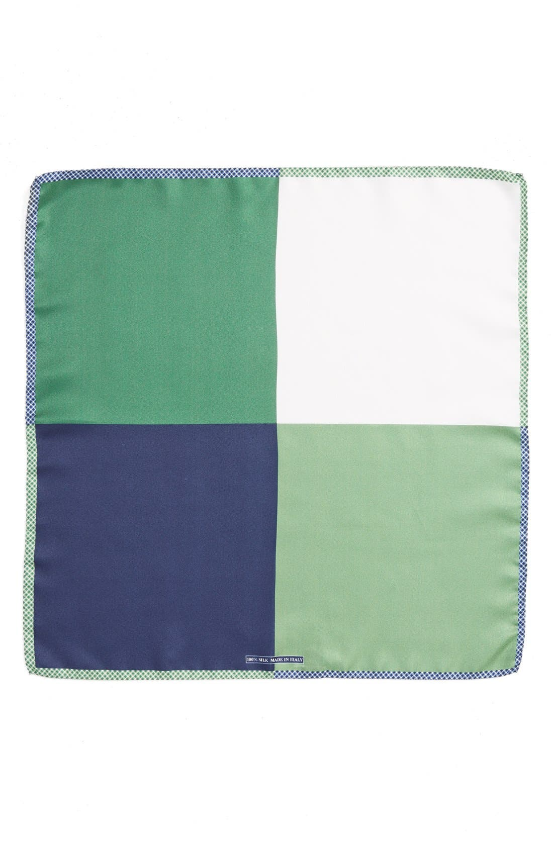 Panel Silk Pocket Square,                             Alternate thumbnail 2, color,                             GREEN
