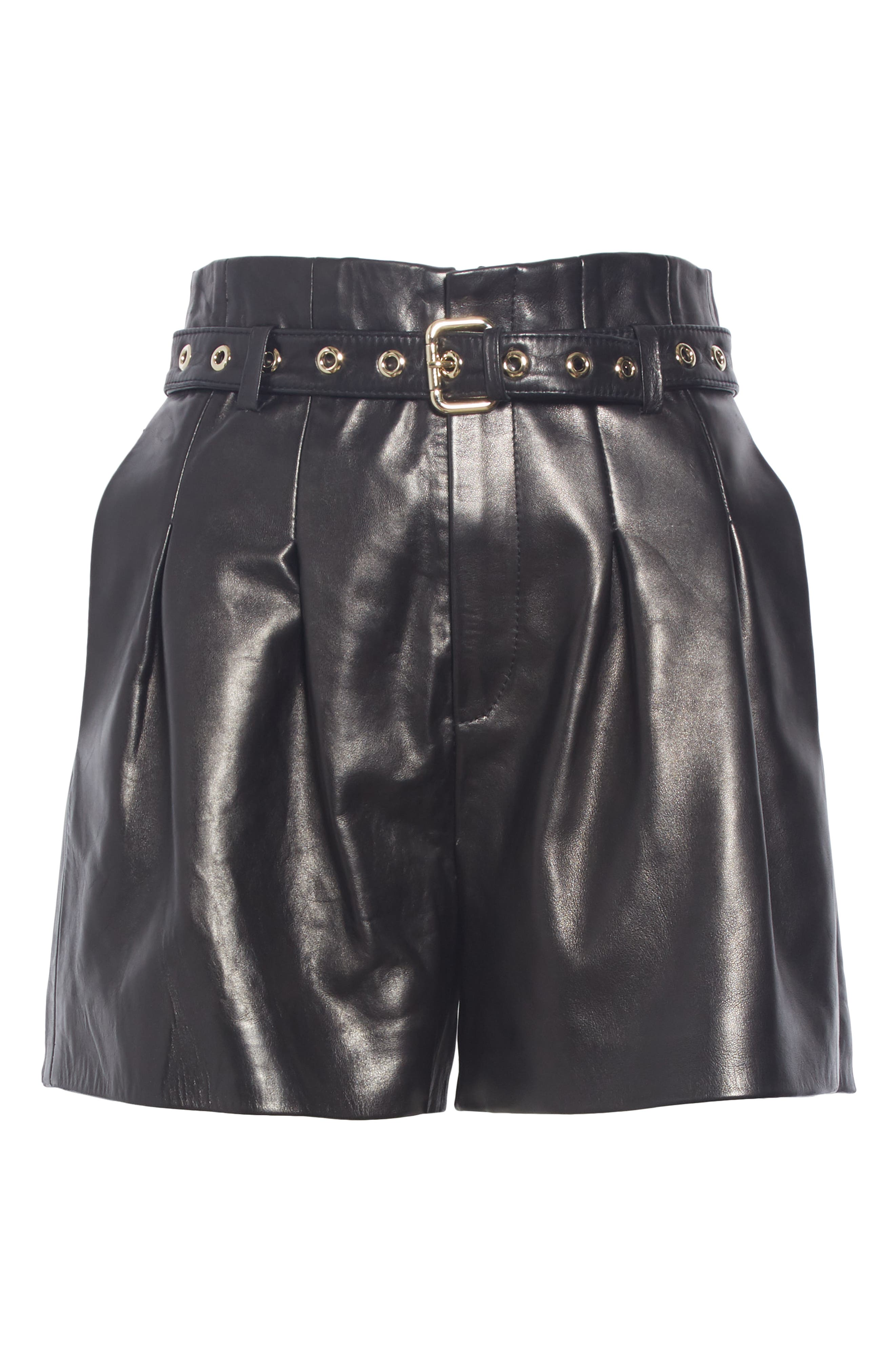Belted Leather Shorts,                             Alternate thumbnail 6, color,                             BLACK