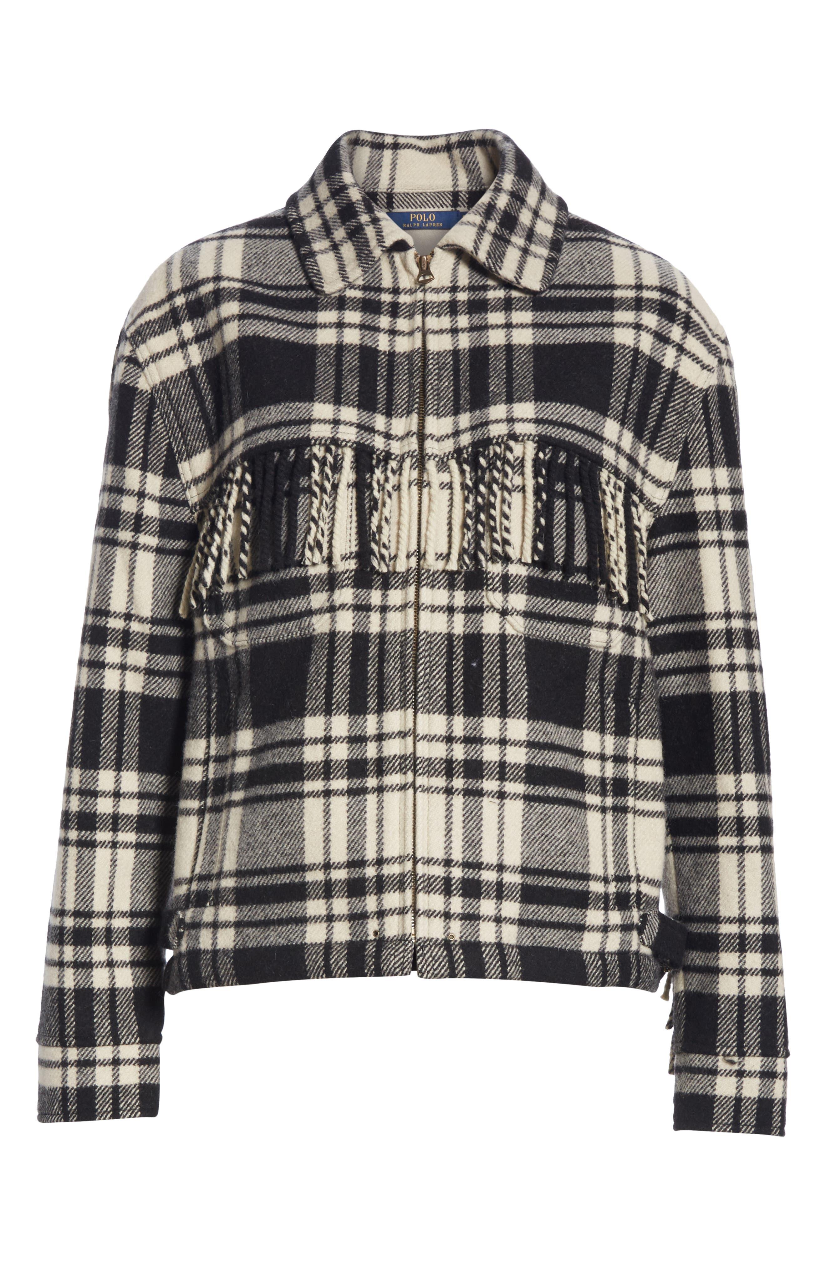 Wool Blend Plaid Jacket,                             Alternate thumbnail 5, color,                             BLACK/ CREAM