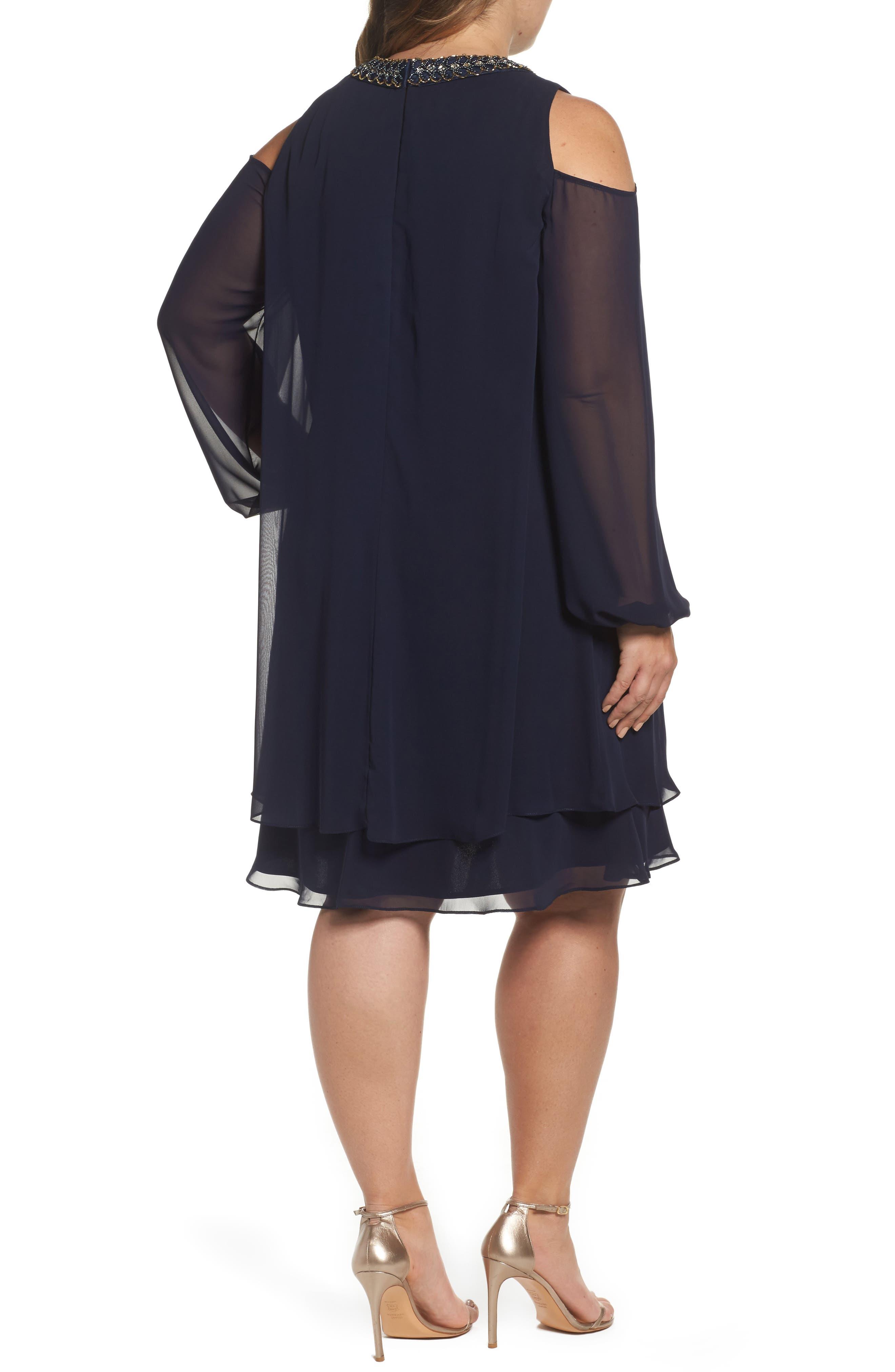 Embellished Cold Shoulder Shift Dress,                             Alternate thumbnail 2, color,                             NAVY/ GOLD