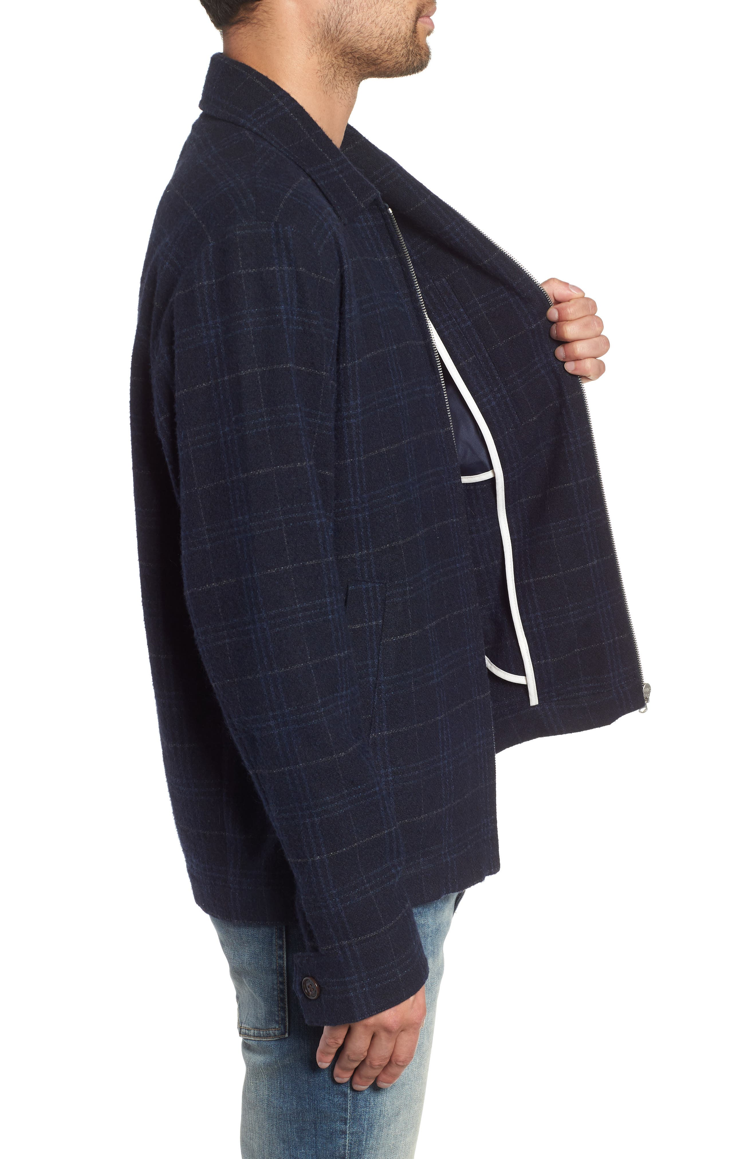 WAX LONDON,                             Witham Coach's Jacket,                             Alternate thumbnail 3, color,                             NAVY CHECK