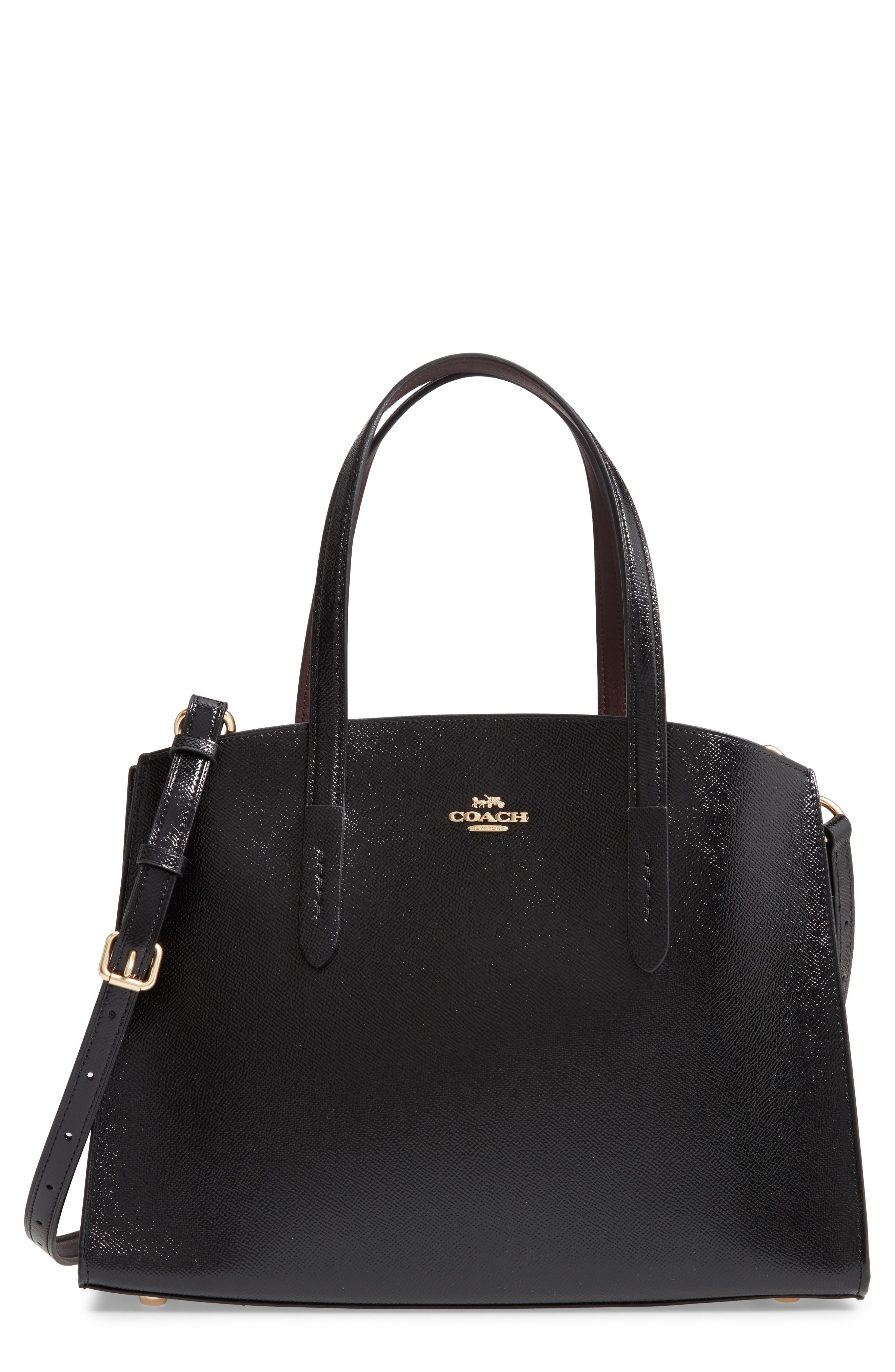 COACH Charlie Patent Leather Tote, Main, color, BLACK