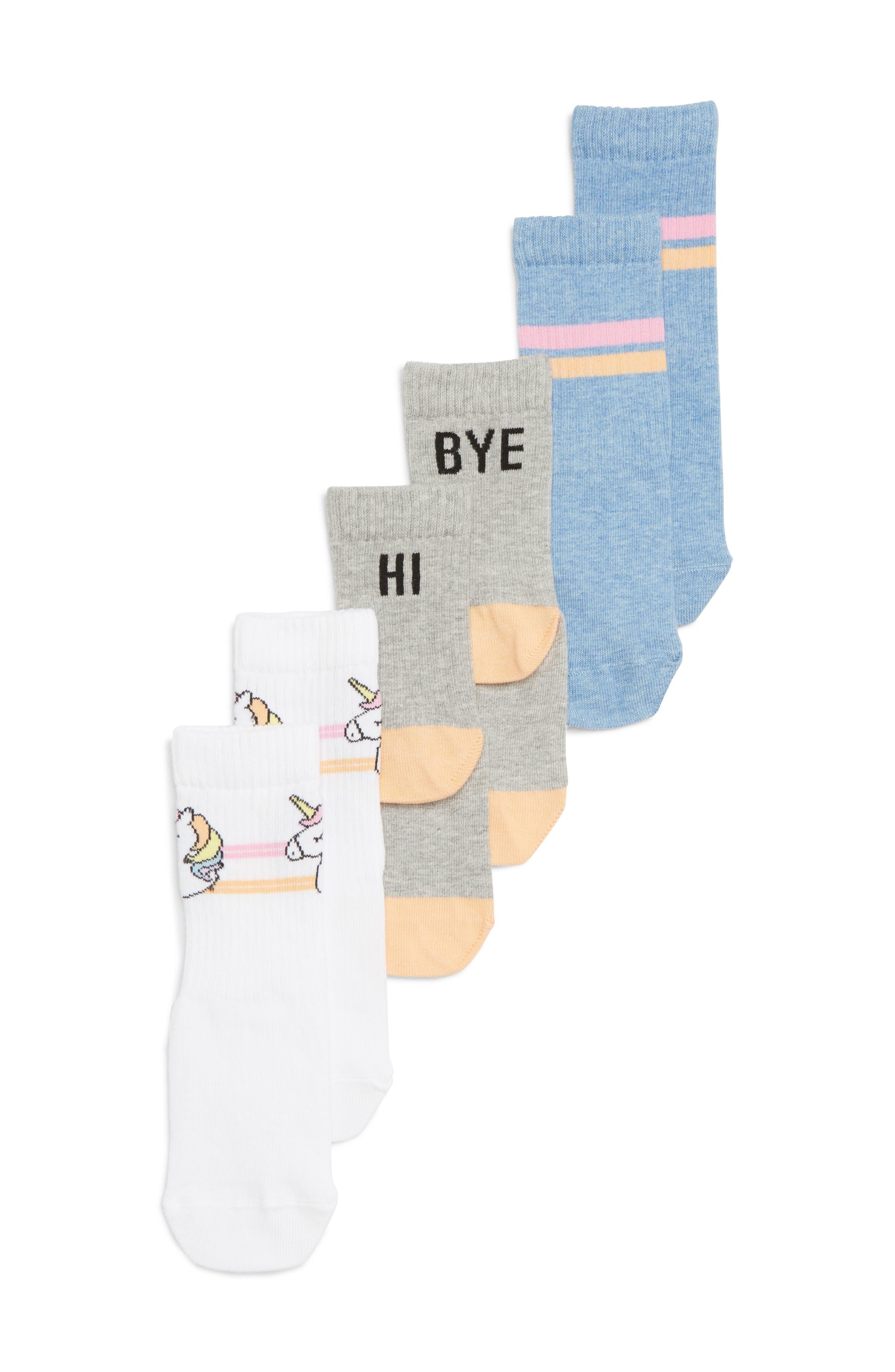 Hi Bye 3-Pack Crew Socks,                             Main thumbnail 1, color,                             100