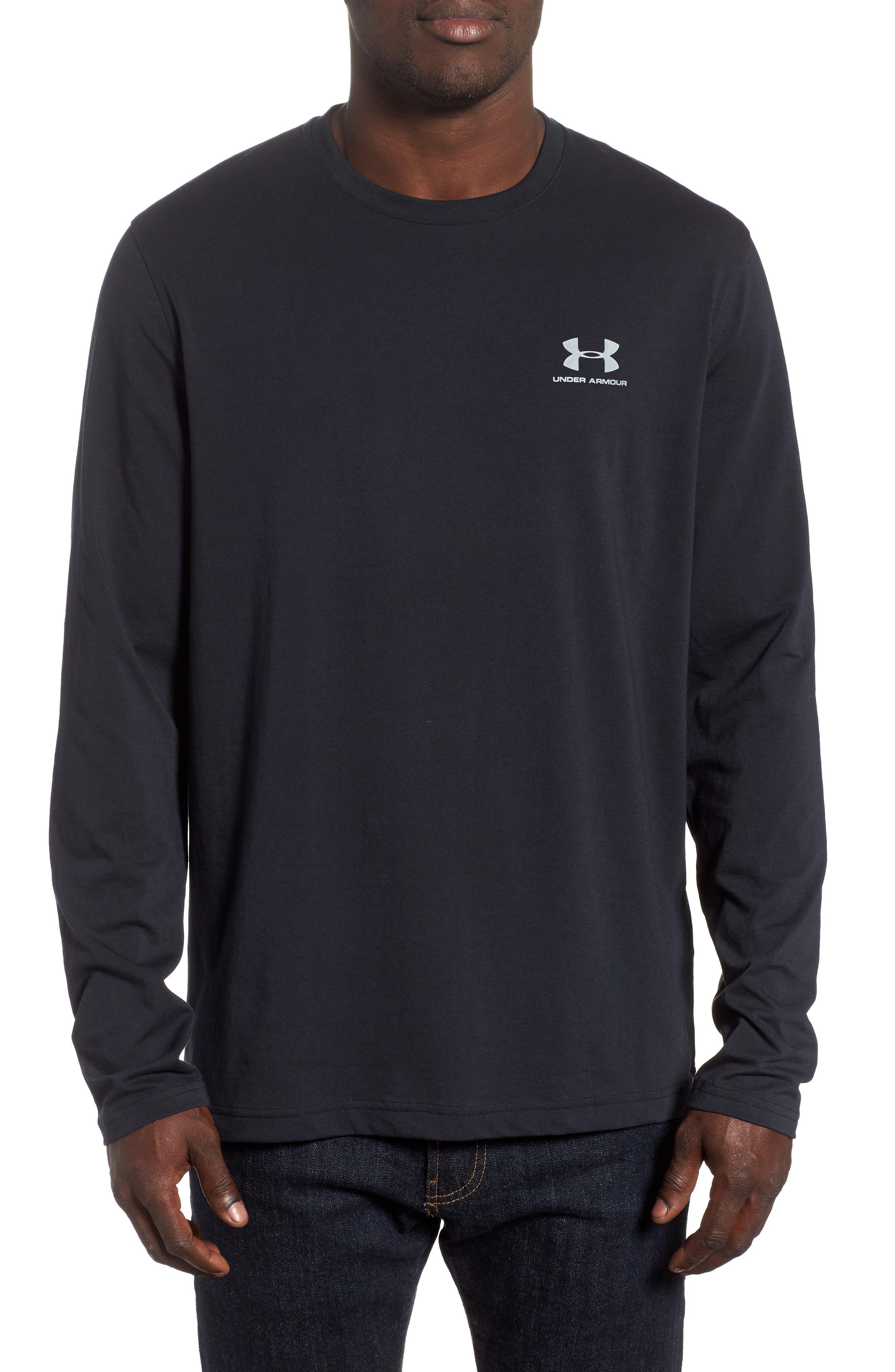 HeatGear<sup>®</sup> Long Sleeve Performance T-Shirt,                             Main thumbnail 1, color,                             BLACK/ STEEL