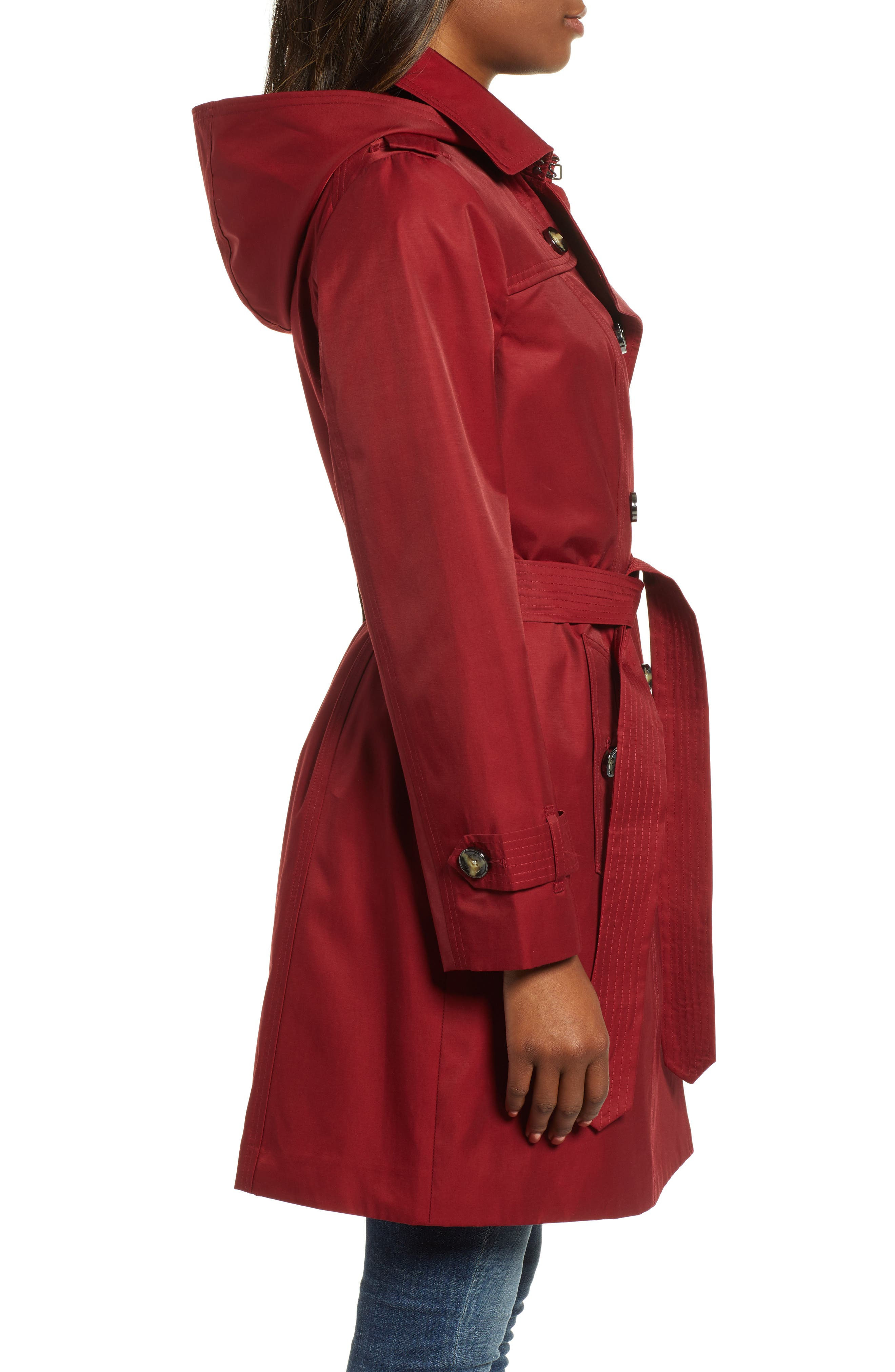 Double Breasted Trench Coat,                             Alternate thumbnail 3, color,                             RED