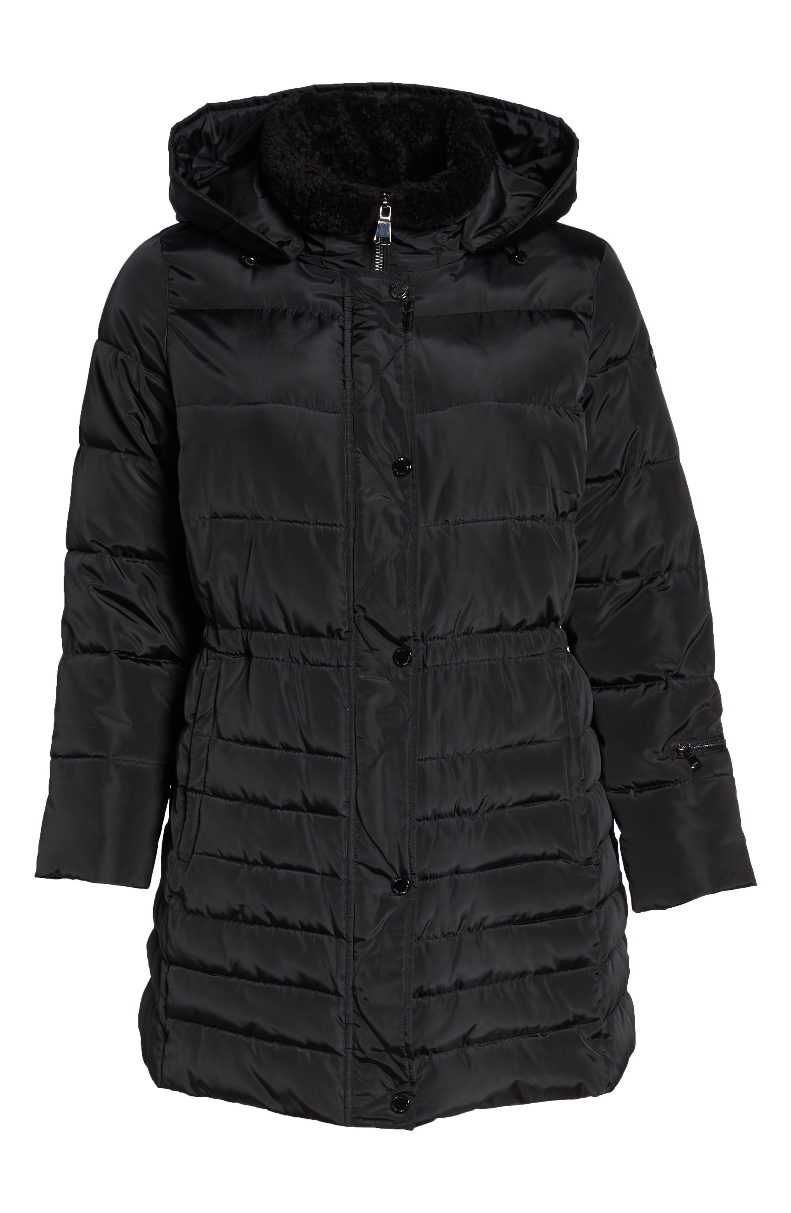 Matte Finish Puffer Coat,                             Alternate thumbnail 6, color,                             BLACK