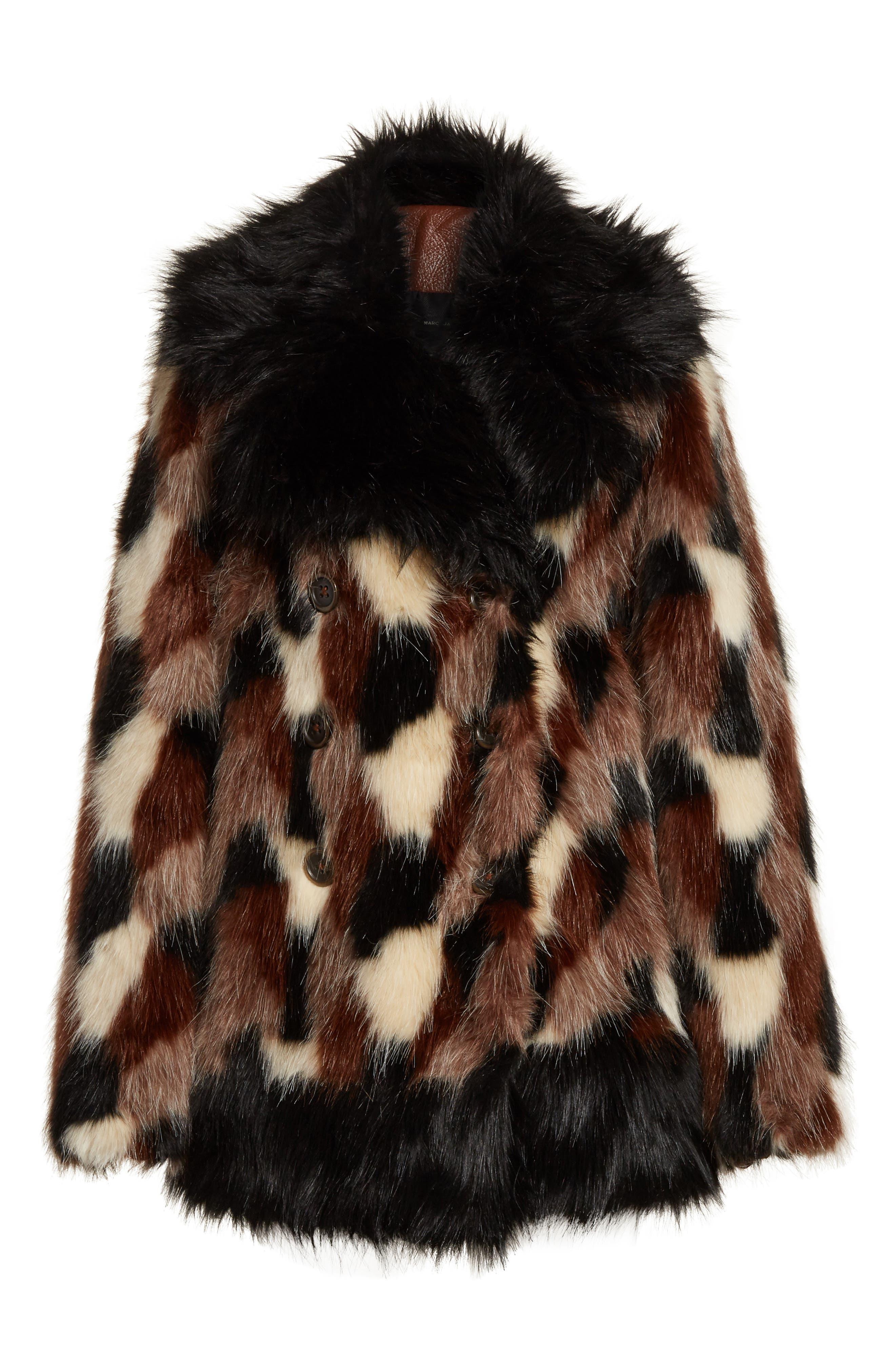 Patchwork Faux Fur Jacket,                             Alternate thumbnail 5, color,