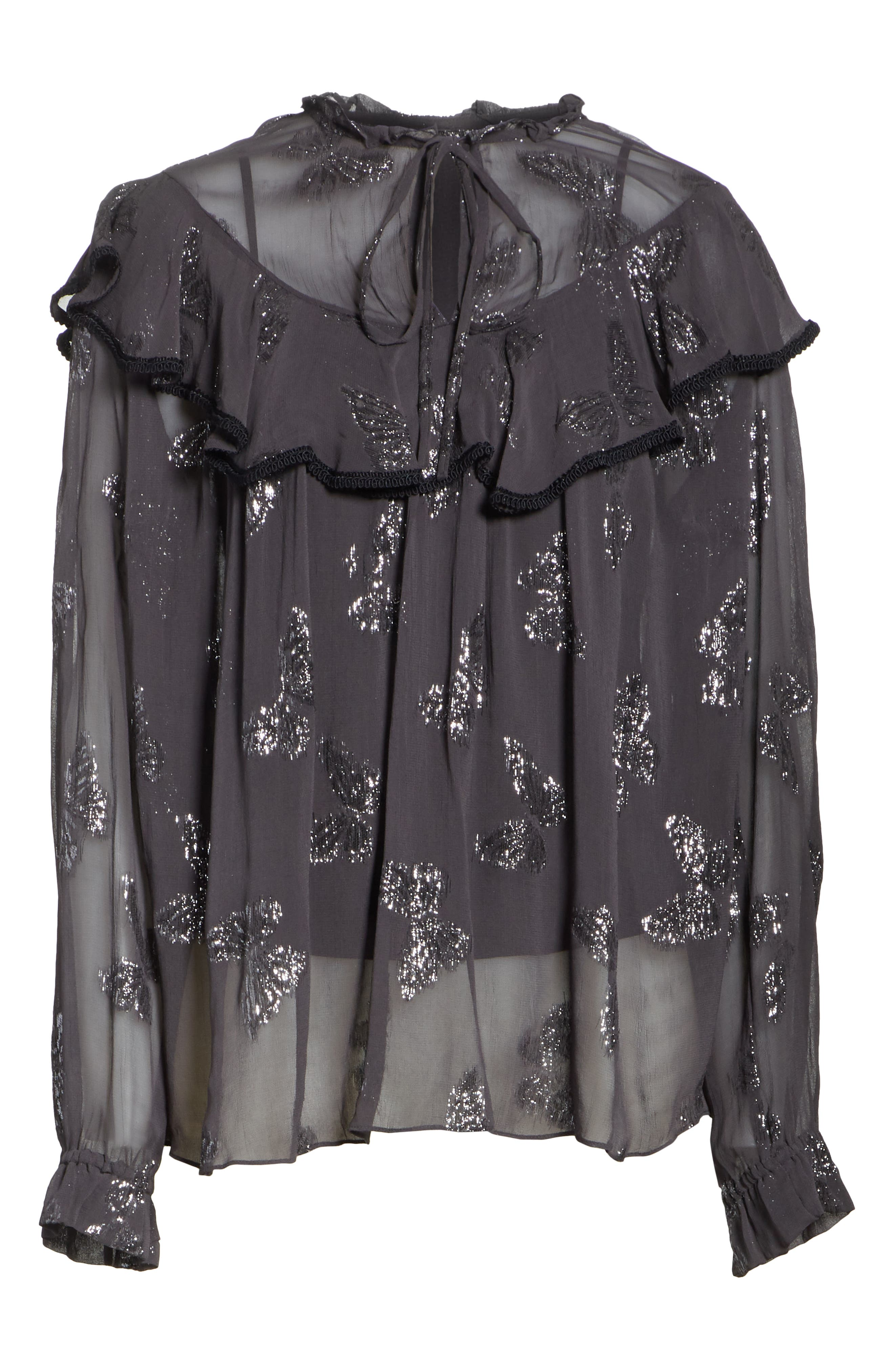 Metallic Butterfly Top,                             Alternate thumbnail 6, color,                             GRAPHITE
