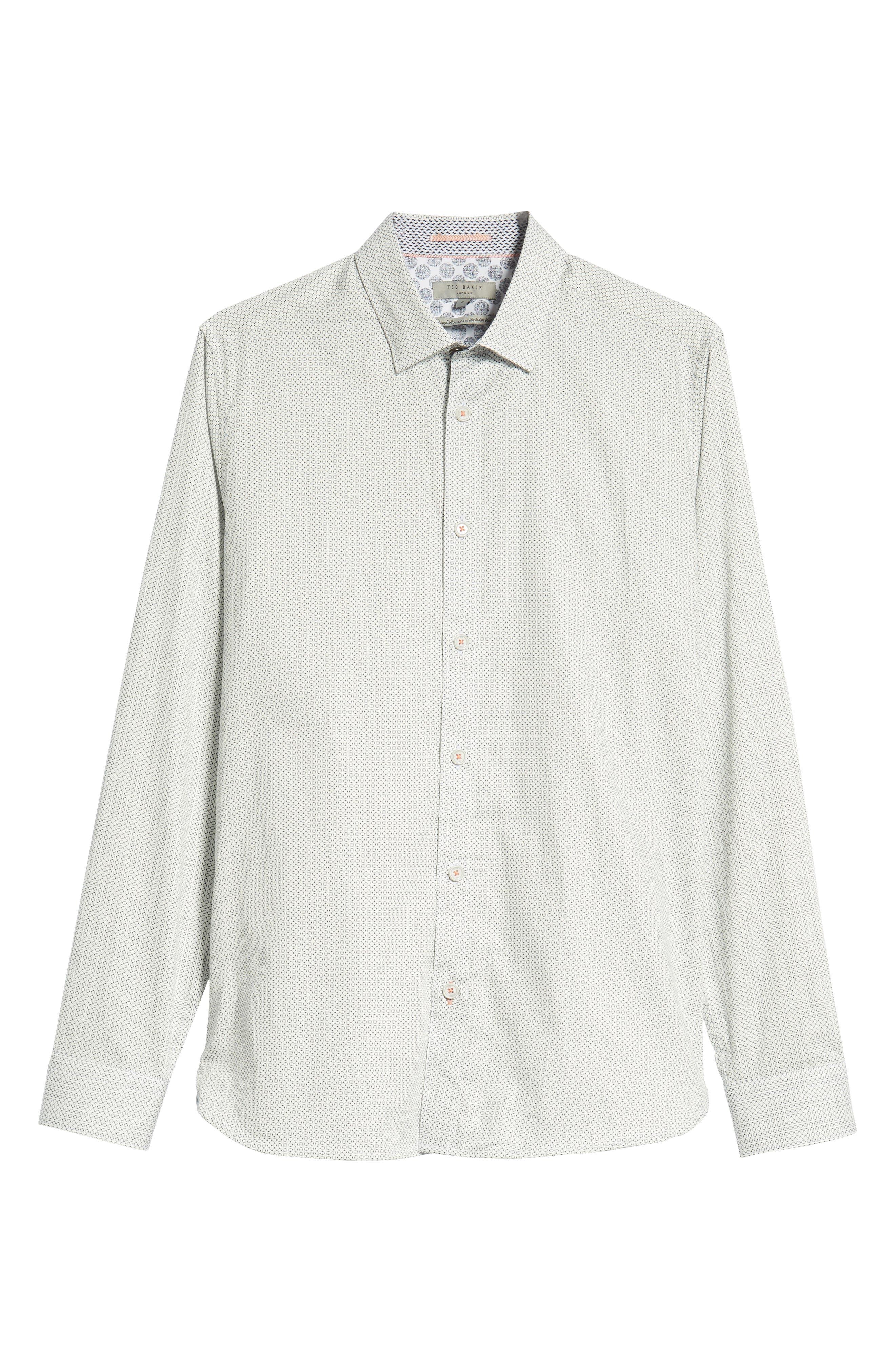 Jenkins Slim Fit Geometric Sport Shirt,                             Alternate thumbnail 5, color,                             WHITE