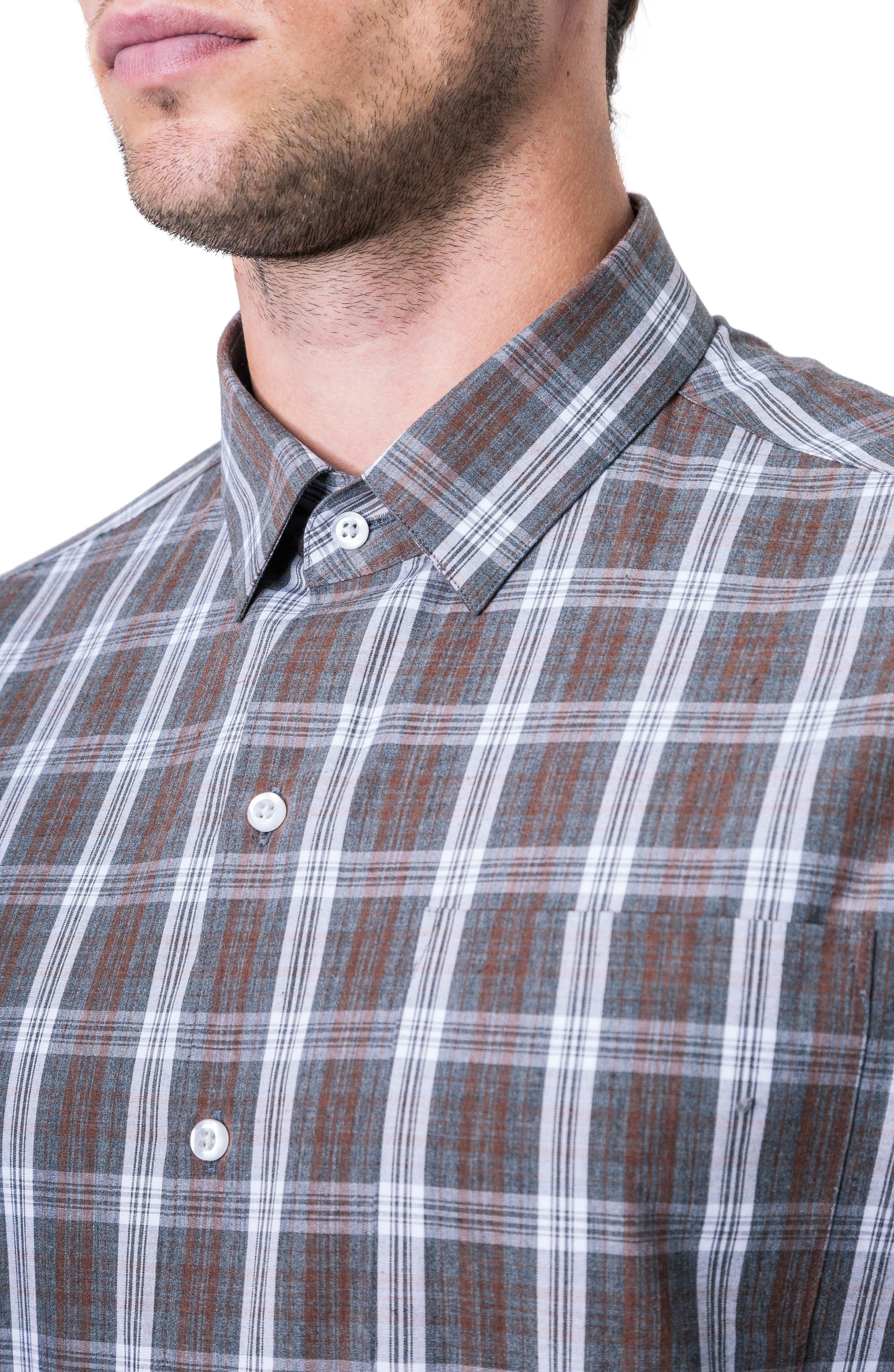 Majesty Plaid Woven Shirt,                             Alternate thumbnail 4, color,                             BROWN