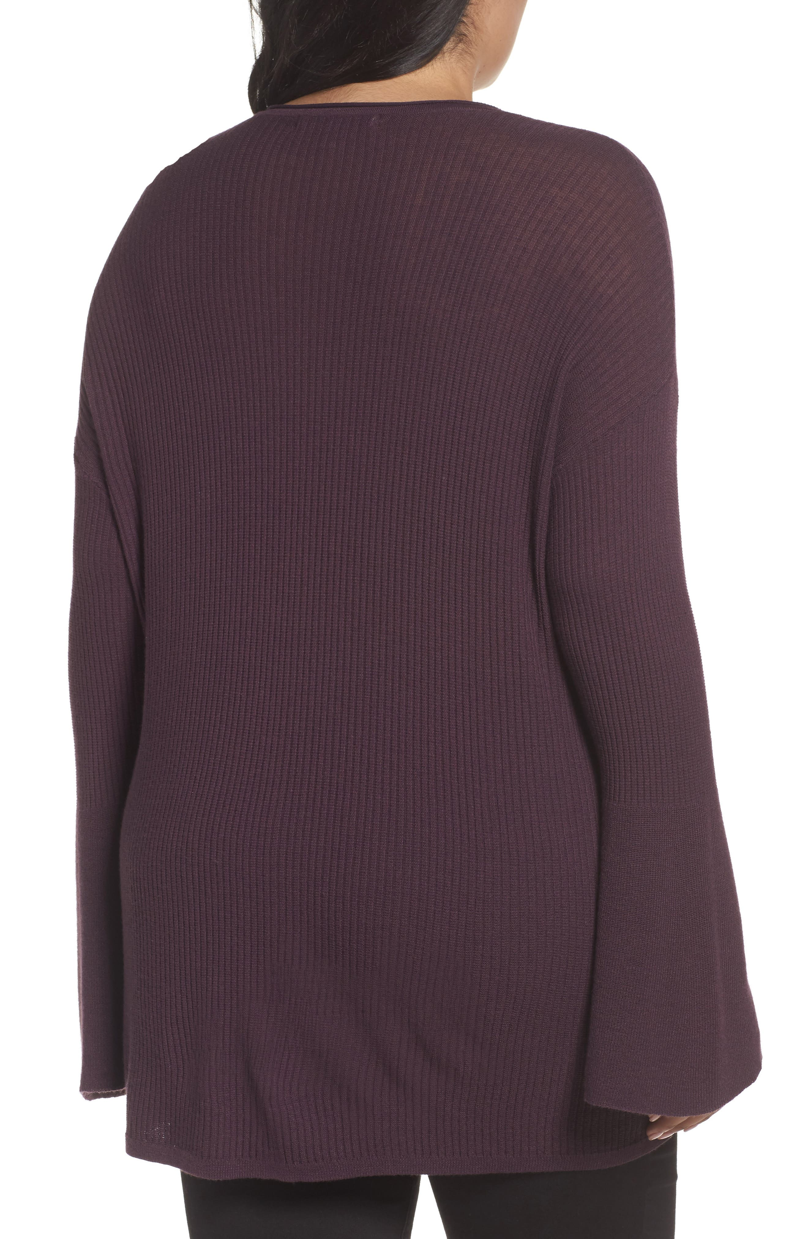 Ribbed Bell Sleeve Sweater,                             Alternate thumbnail 4, color,