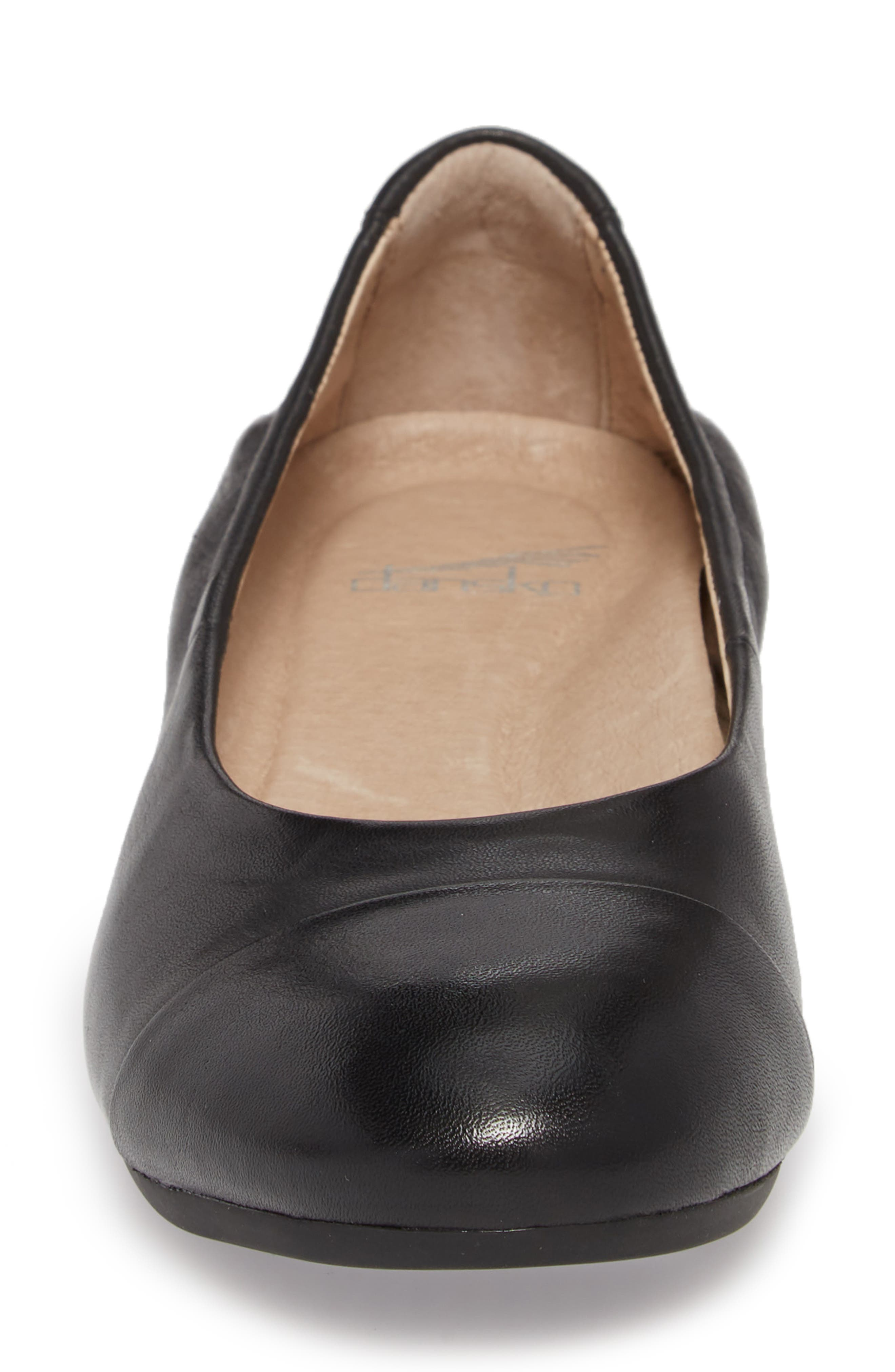Lisanne Cap Toe Ballet Flat,                             Alternate thumbnail 4, color,                             BLACK MILLED LEATHER