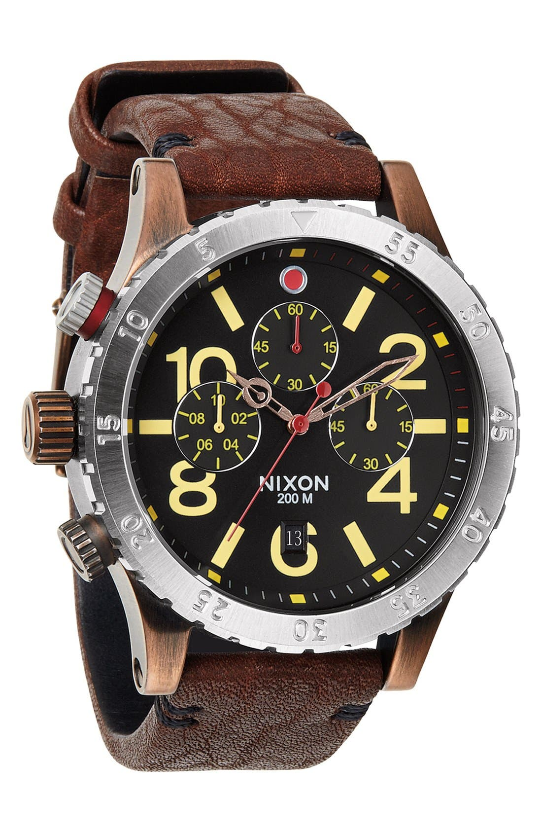 'The 48-20' Chronograph Leather Strap Watch, 48mm,                             Alternate thumbnail 18, color,