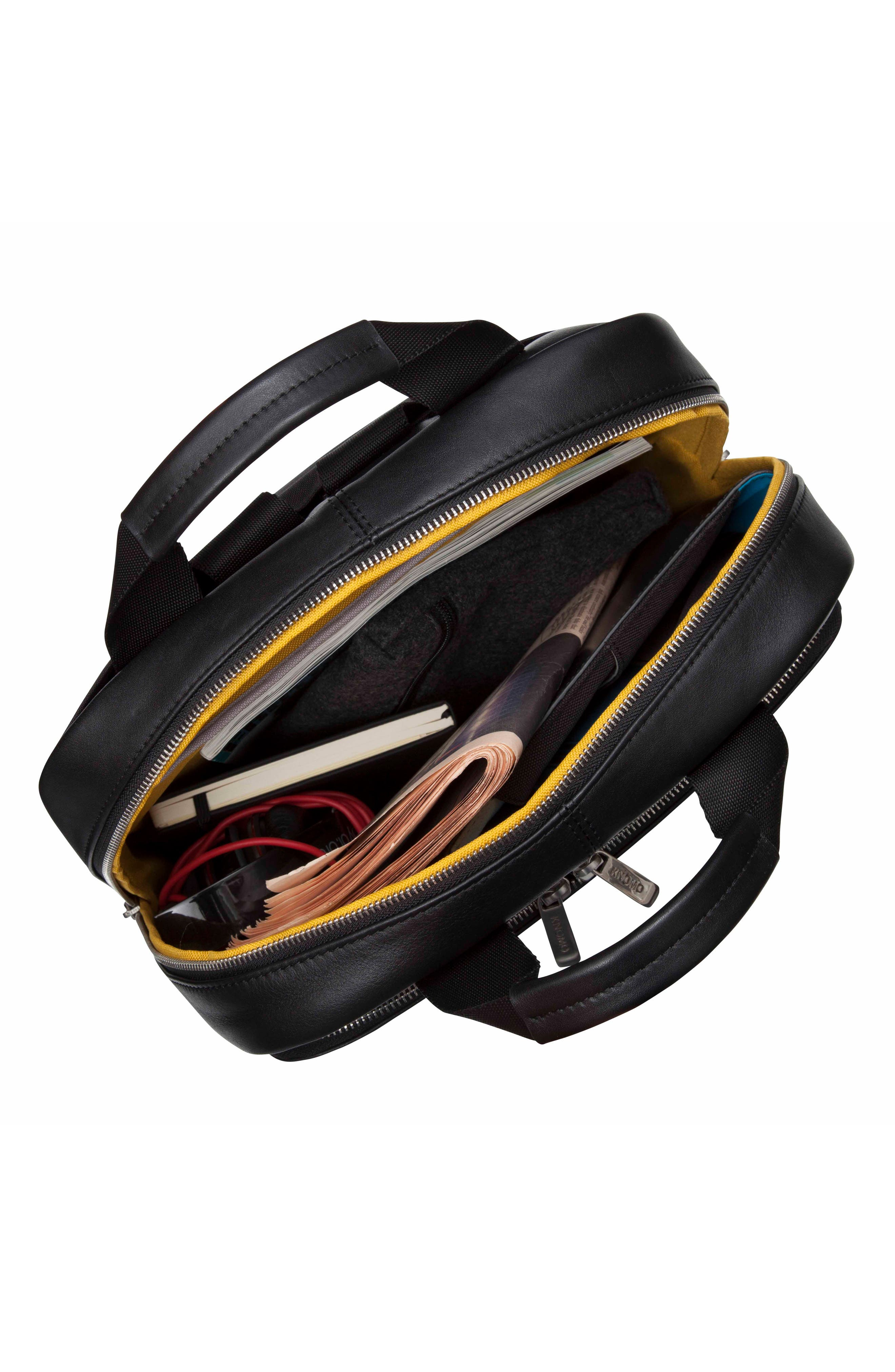 Brompton Dale Leather Totepack,                             Alternate thumbnail 3, color,                             001