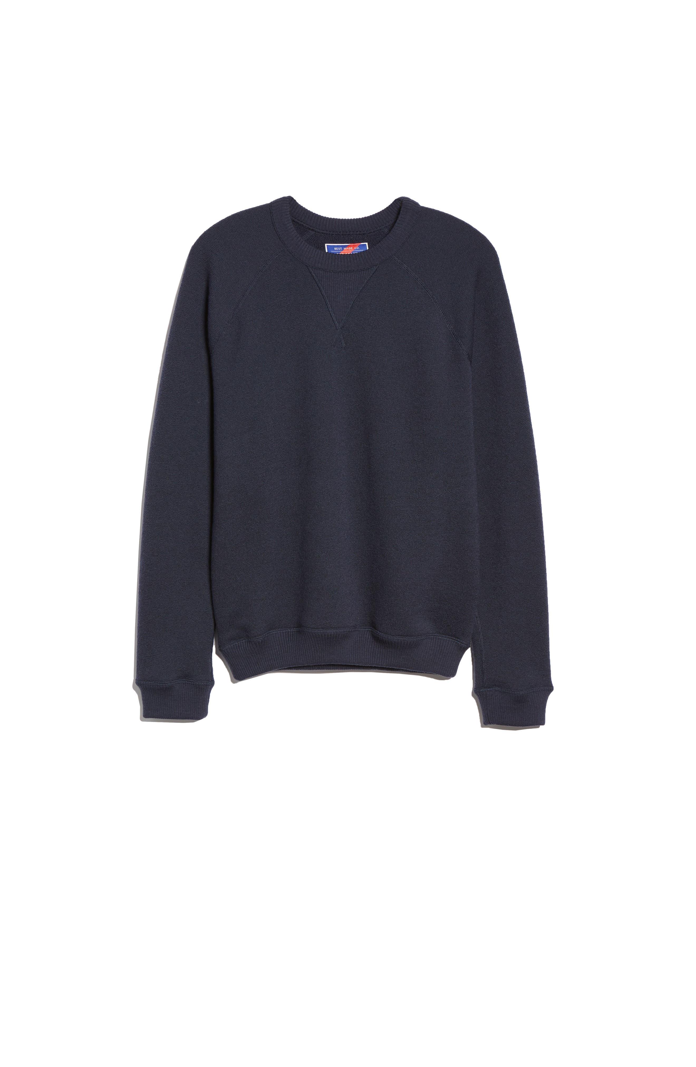 The Merino Wool Fleece Crew Sweatshirt,                         Main,                         color, NAVY
