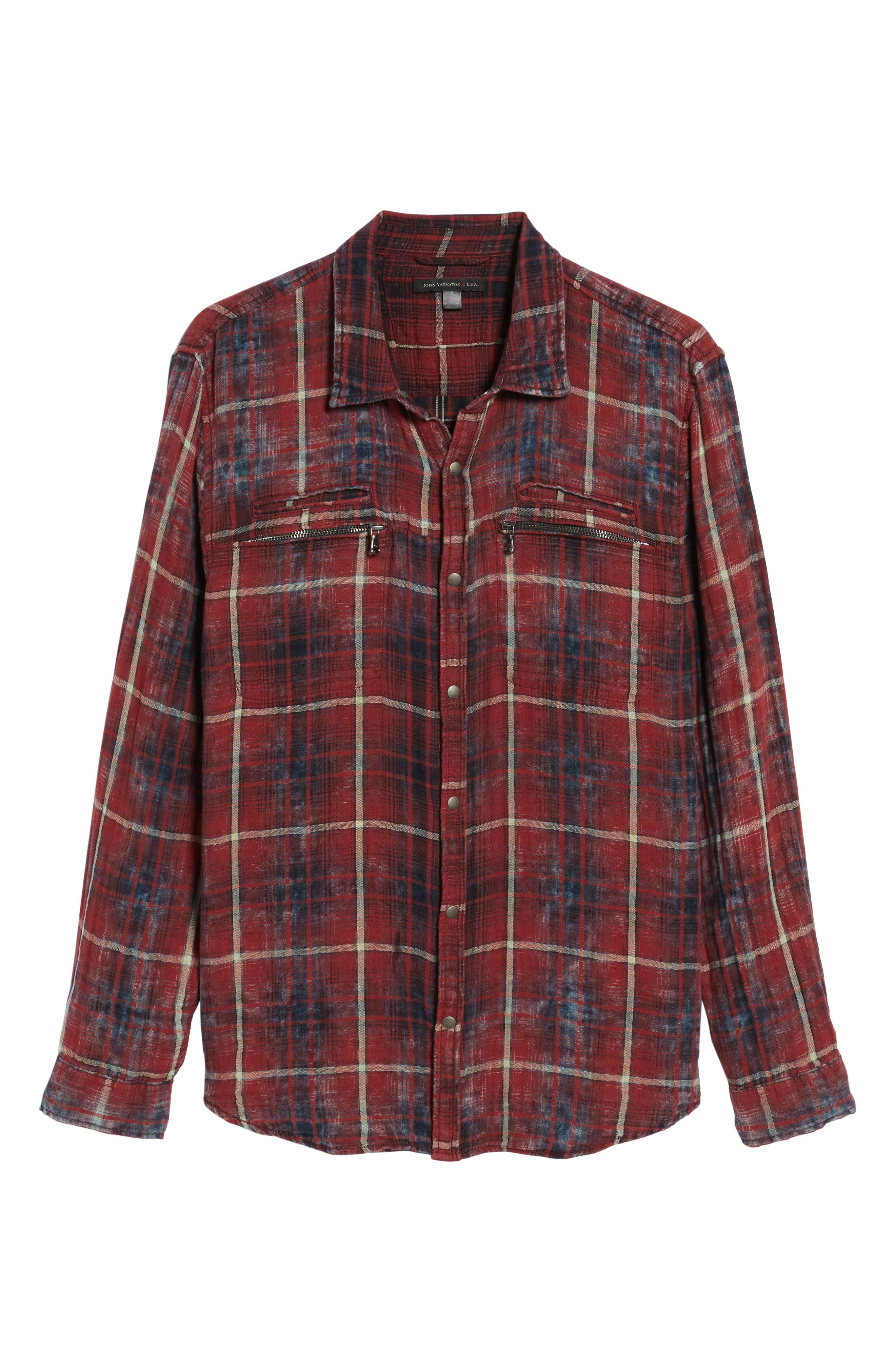 Distressed Plaid Sport Shirt,                             Alternate thumbnail 6, color,