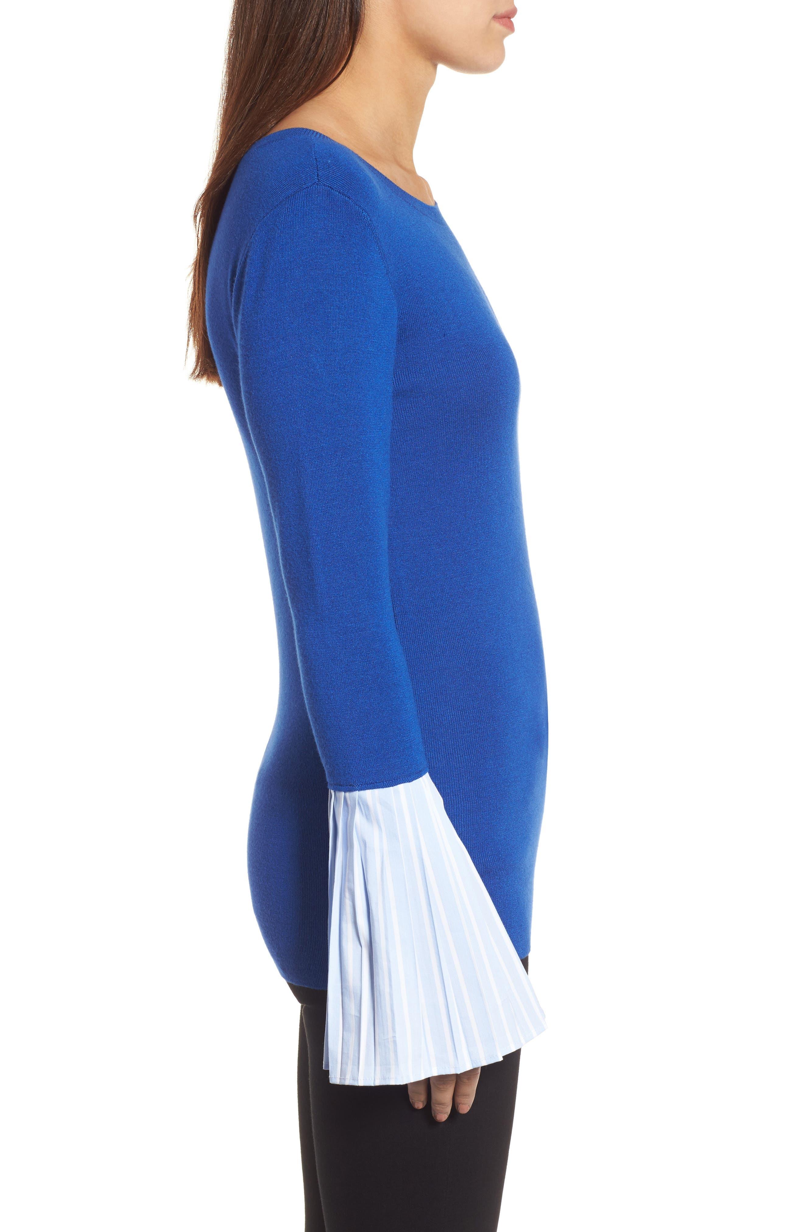 Poplin Bell Cuff Sweater,                             Alternate thumbnail 11, color,