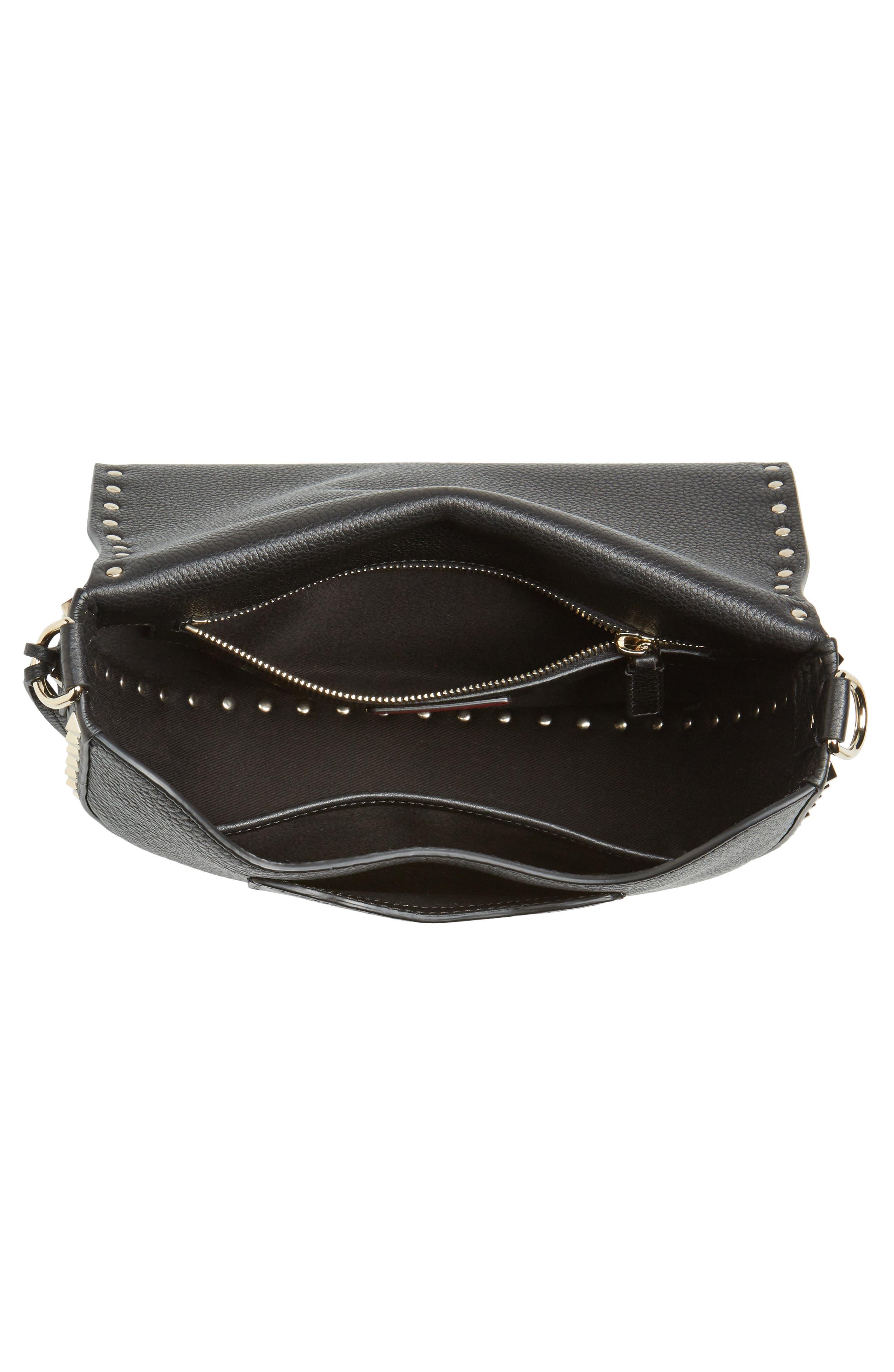 Rockstud Leather Saddle Bag,                             Alternate thumbnail 4, color,                             BLACK