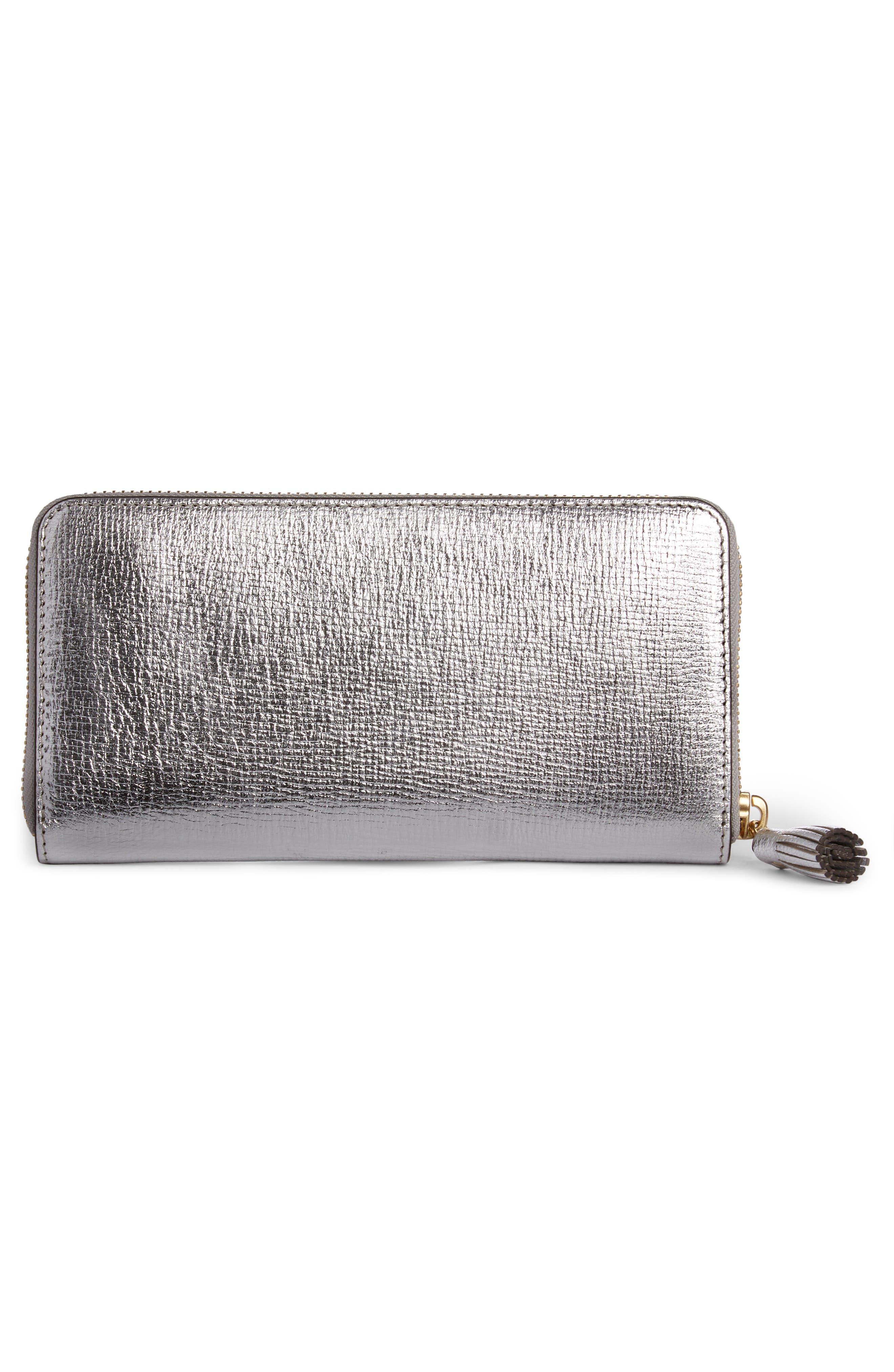 Eyes Large Metallic Leather Zip Around Wallet,                             Alternate thumbnail 3, color,                             SILVER