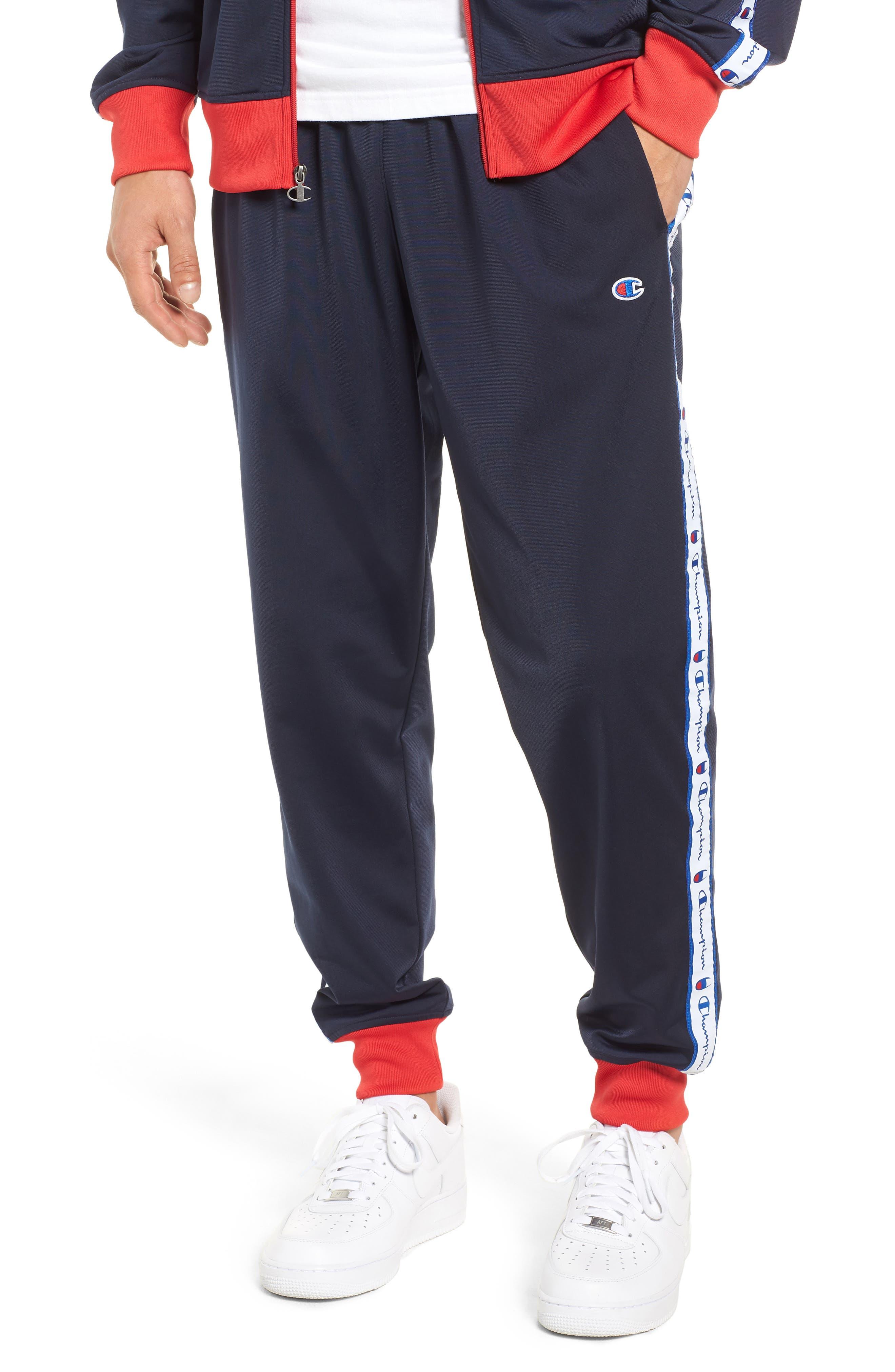 Track Pants,                         Main,                         color, NAVY/ SCARLET