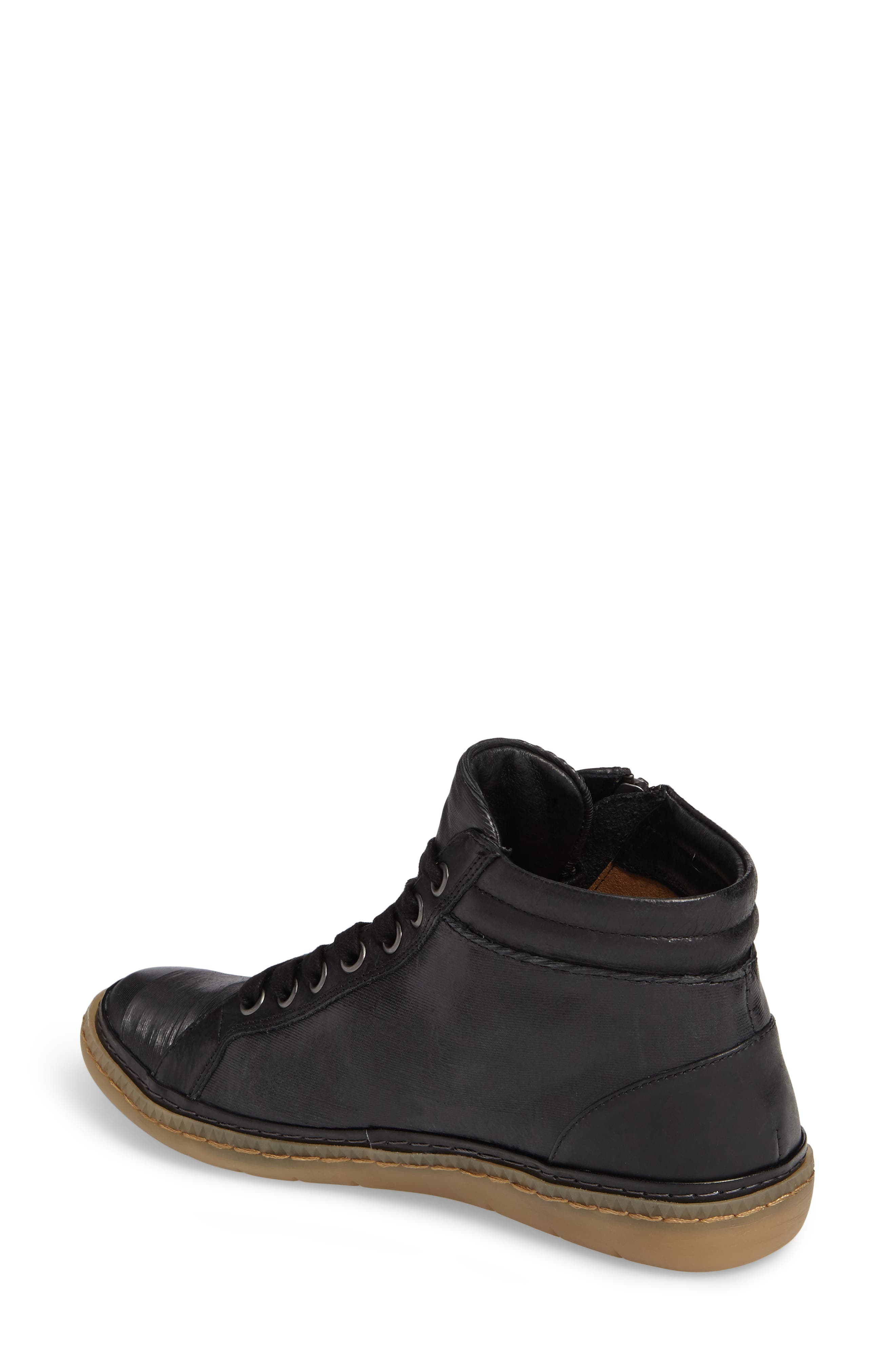 Annaleigh High Top Sneaker,                             Alternate thumbnail 2, color,                             BLACK LEATHER