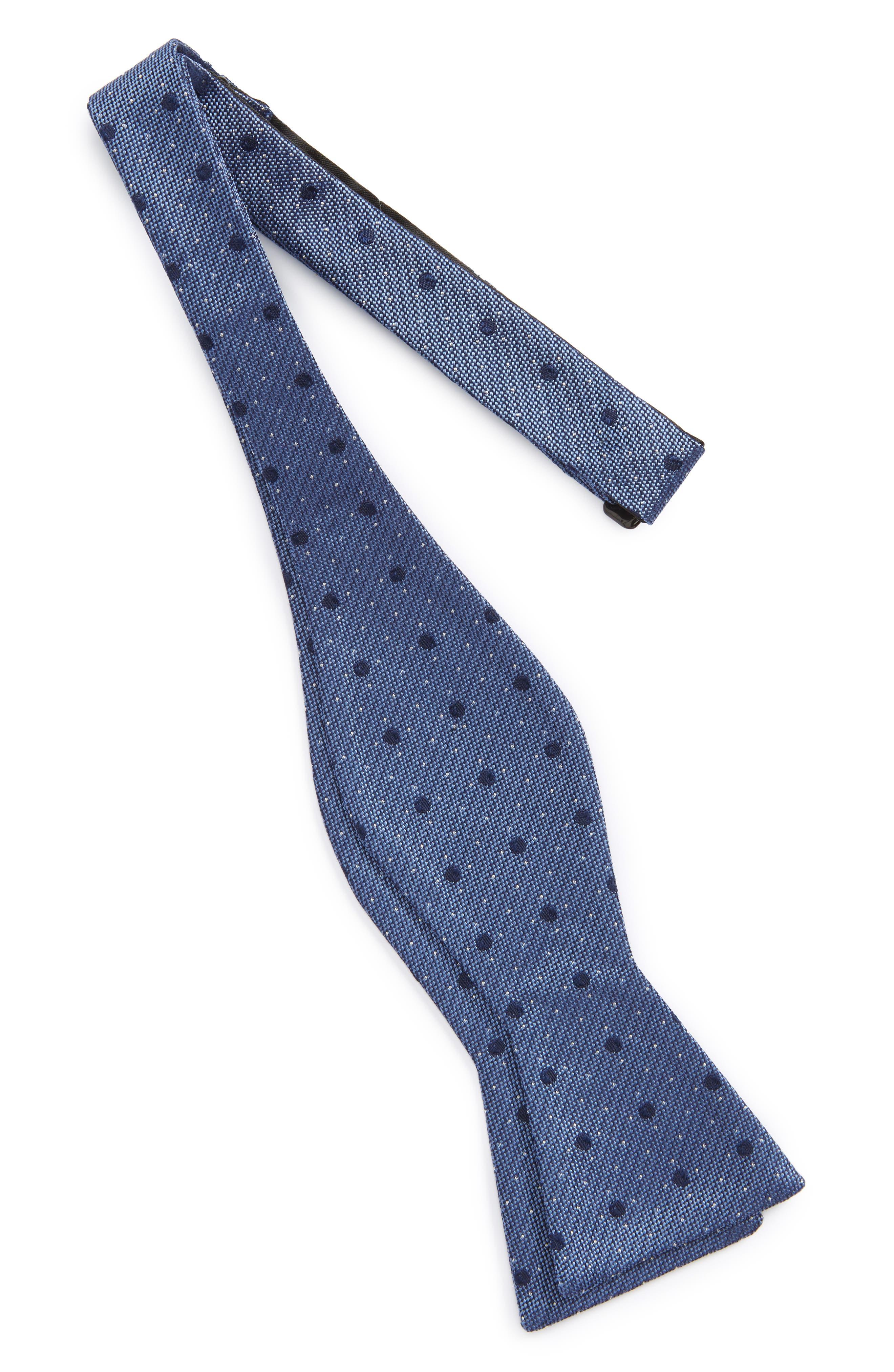 Dot Silk Bow Tie,                             Alternate thumbnail 4, color,