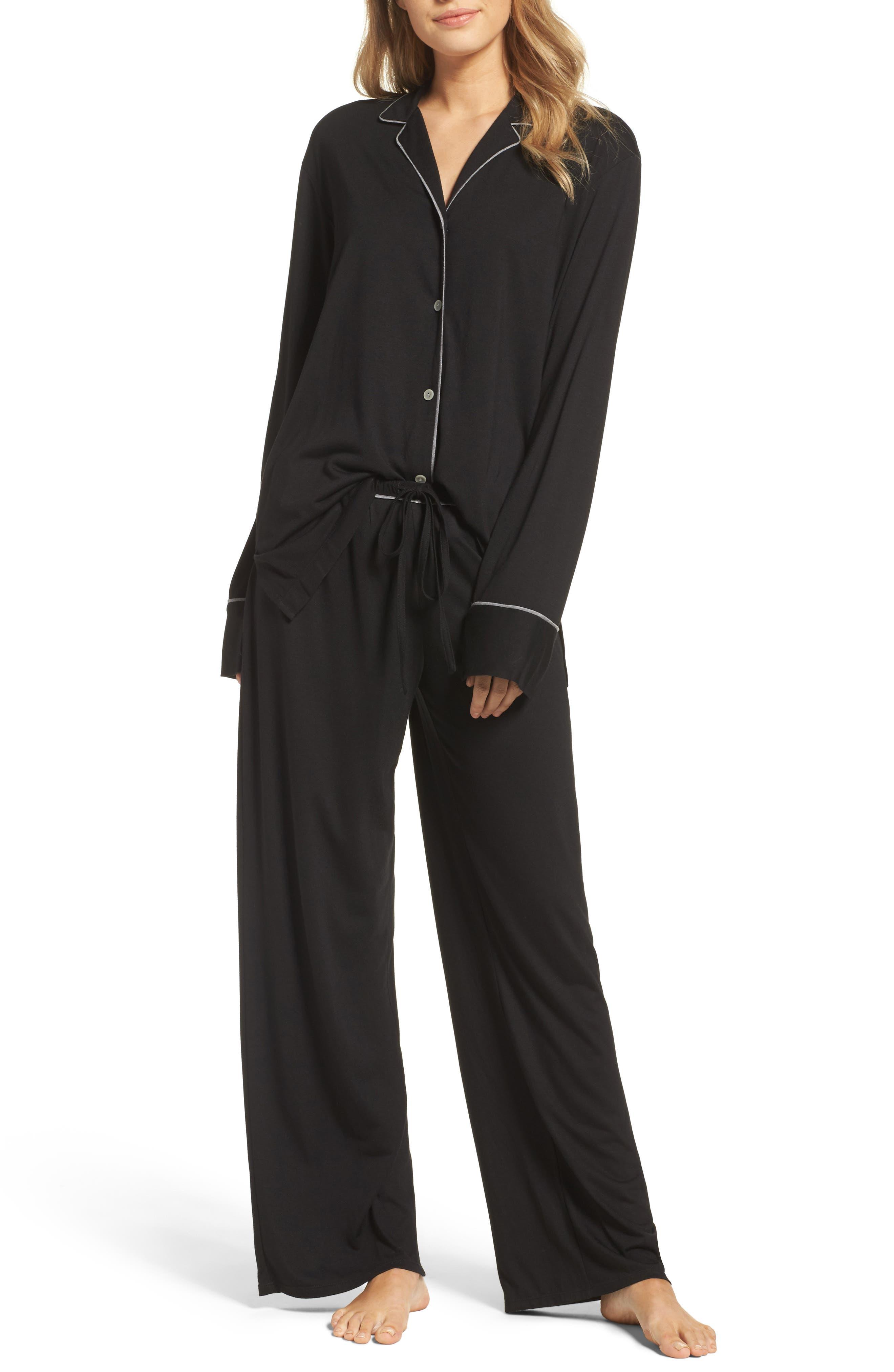 Shangri La Notch Collar Pajamas,                             Main thumbnail 1, color,                             001